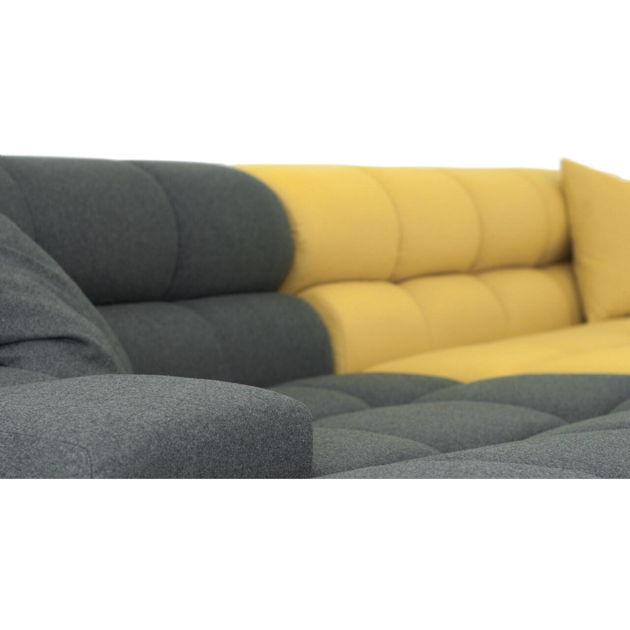 Kardiel Cubix Modern Modular Premium Cashmere Left Sofa Sectional  ~ Heather Grey Sectional Sofa