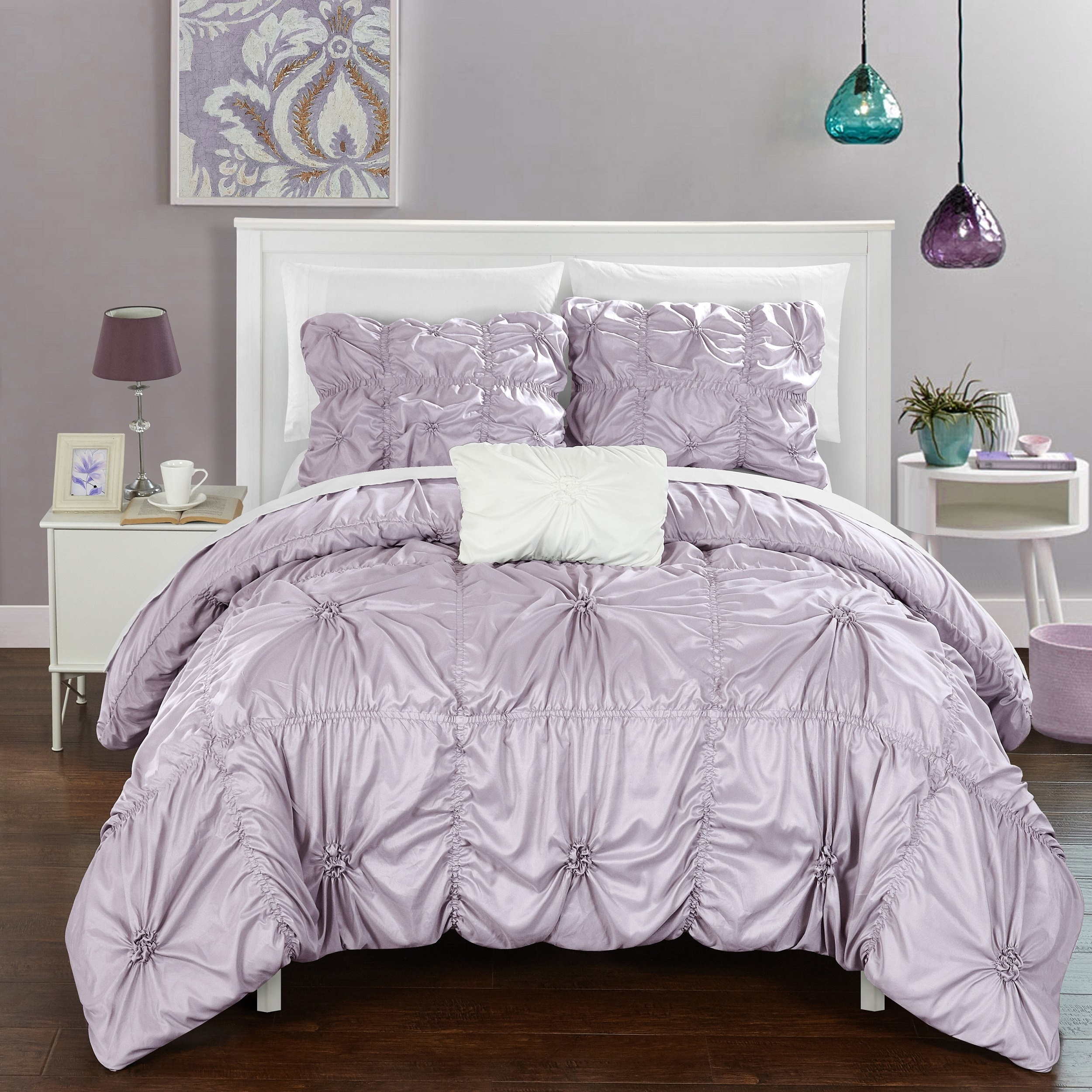 Shop chic home 8 piece benedict lavender bed in a bag duvet set on sale free shipping today overstock com 12777165