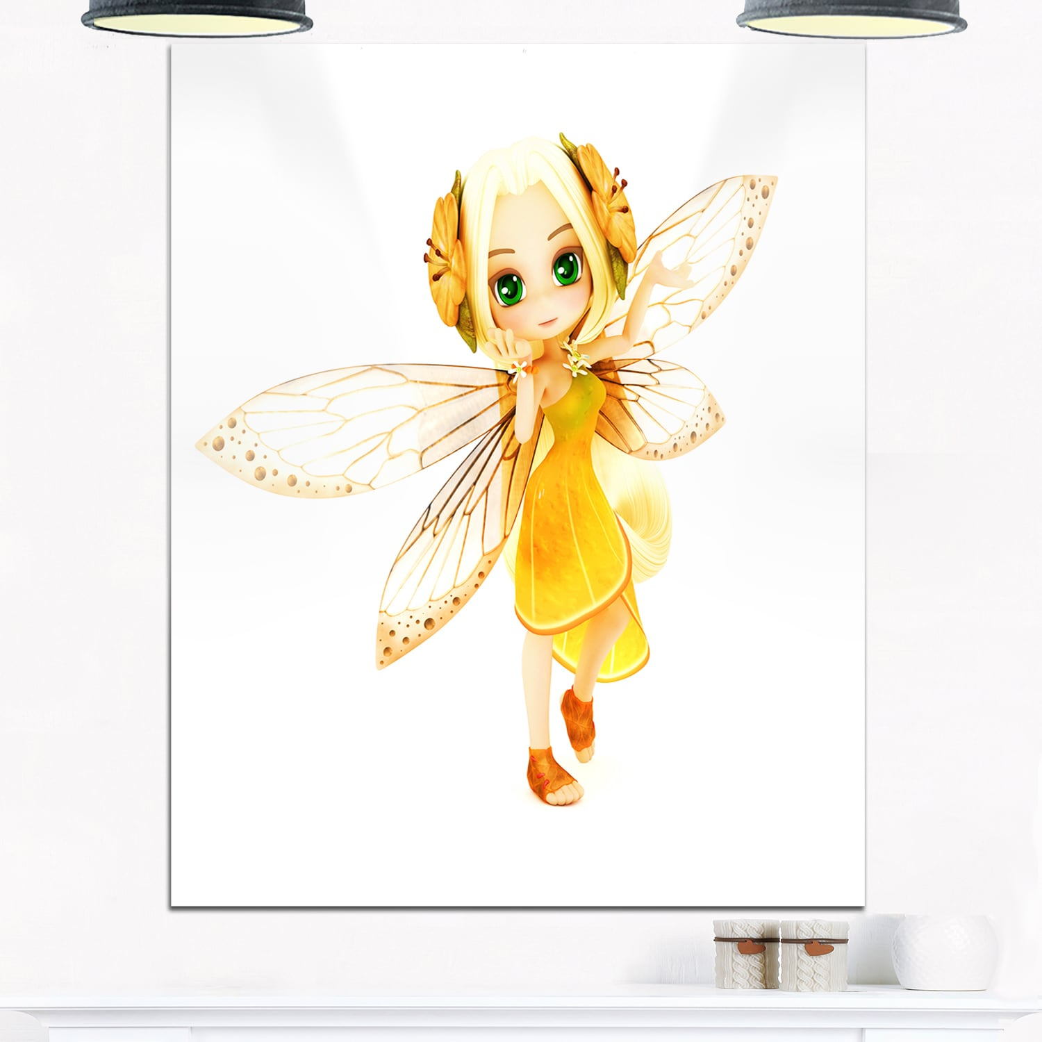 Fairy Woman with Yellow Wings - Floral Painting Glossy Metal Wall ...