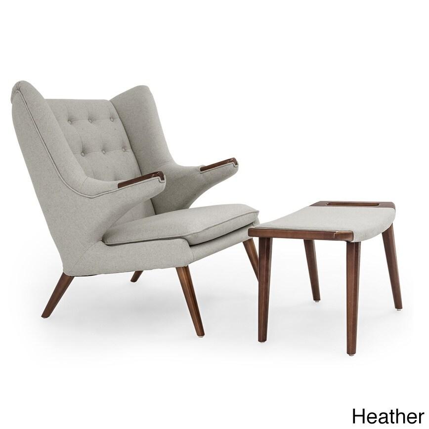 Shop Kardiel Wegner Style Papa Bear Walnut Wingback Chair And Ottoman    Free Shipping Today   Overstock.com   12777710
