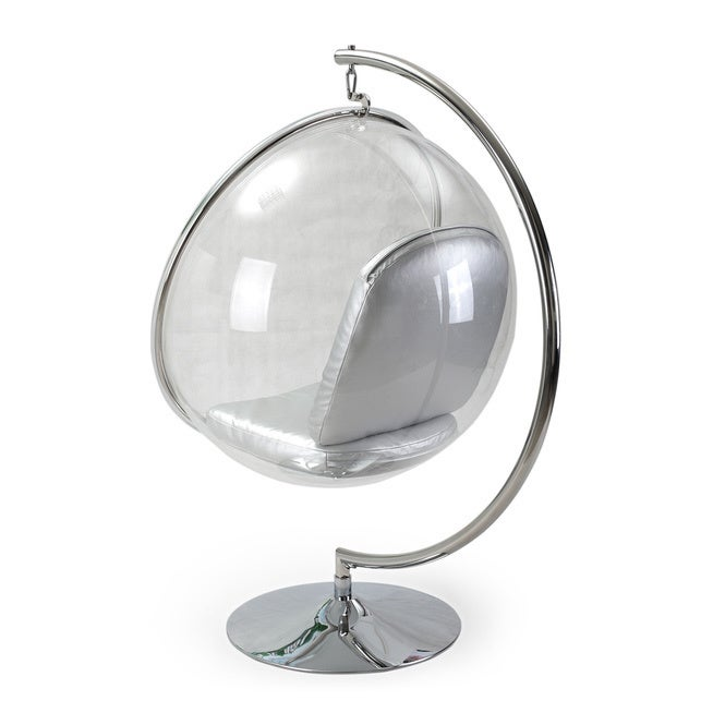 Shop Kardiel Industrial Silver Bubble Chair With Stand   Free Shipping  Today   Overstock.com   12777713