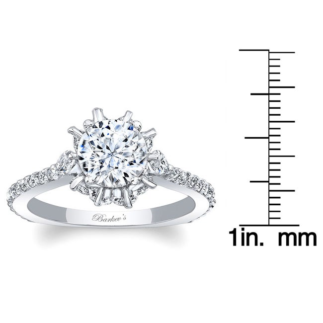 9e25140d329d0 Barkev's 14kt White Gold Designer Round and Marquise Cut Diamond Engagement  Ring