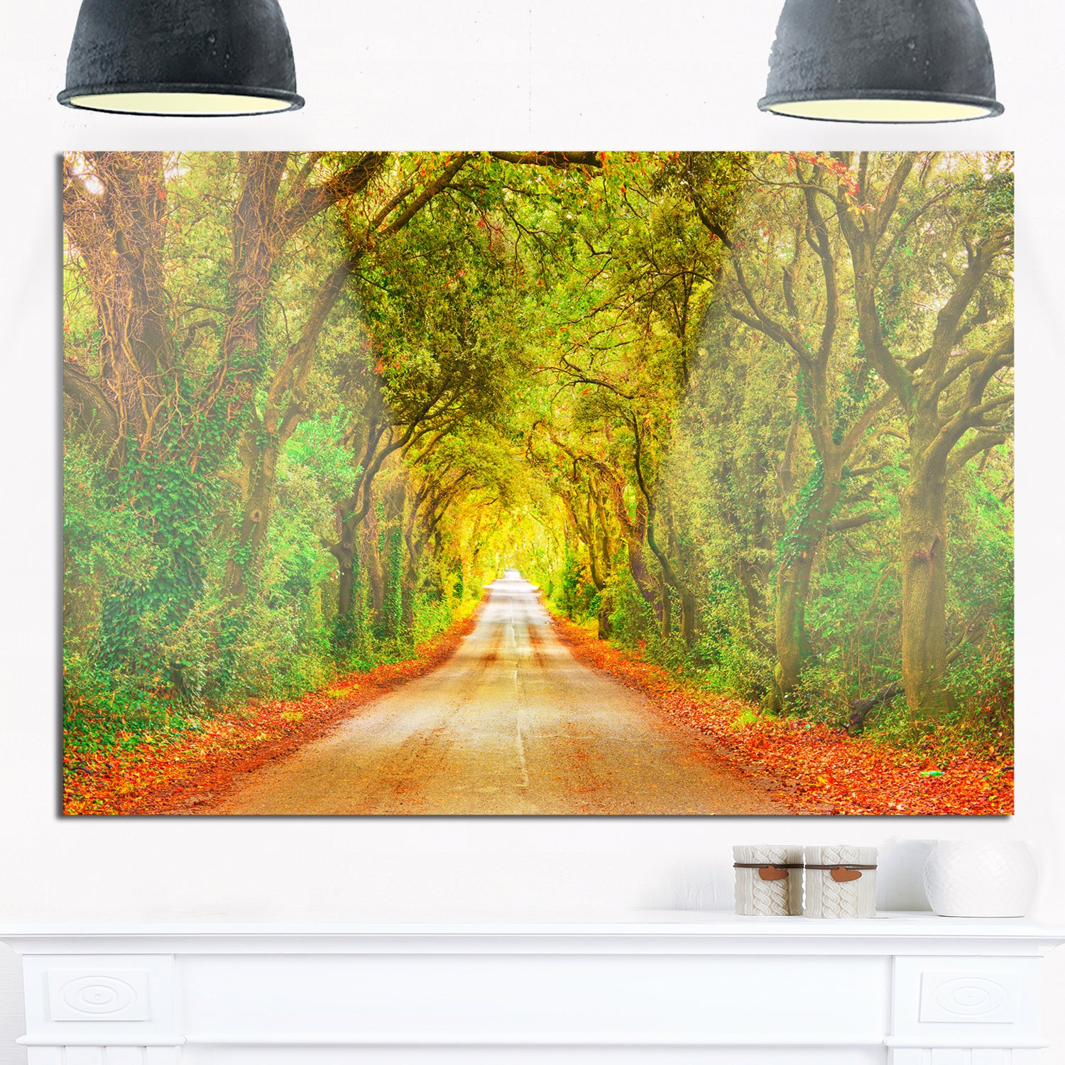 Fall Greenery and Road Straight Ahead - Oversized Forest Glossy ...