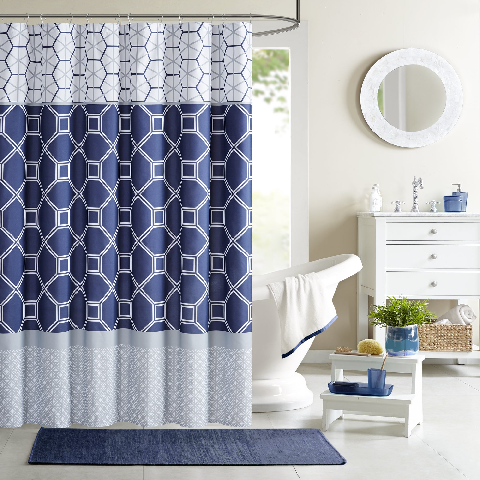 Shop Intelligent Design Zara Navy Microfiber Printed Shower Curtain ...