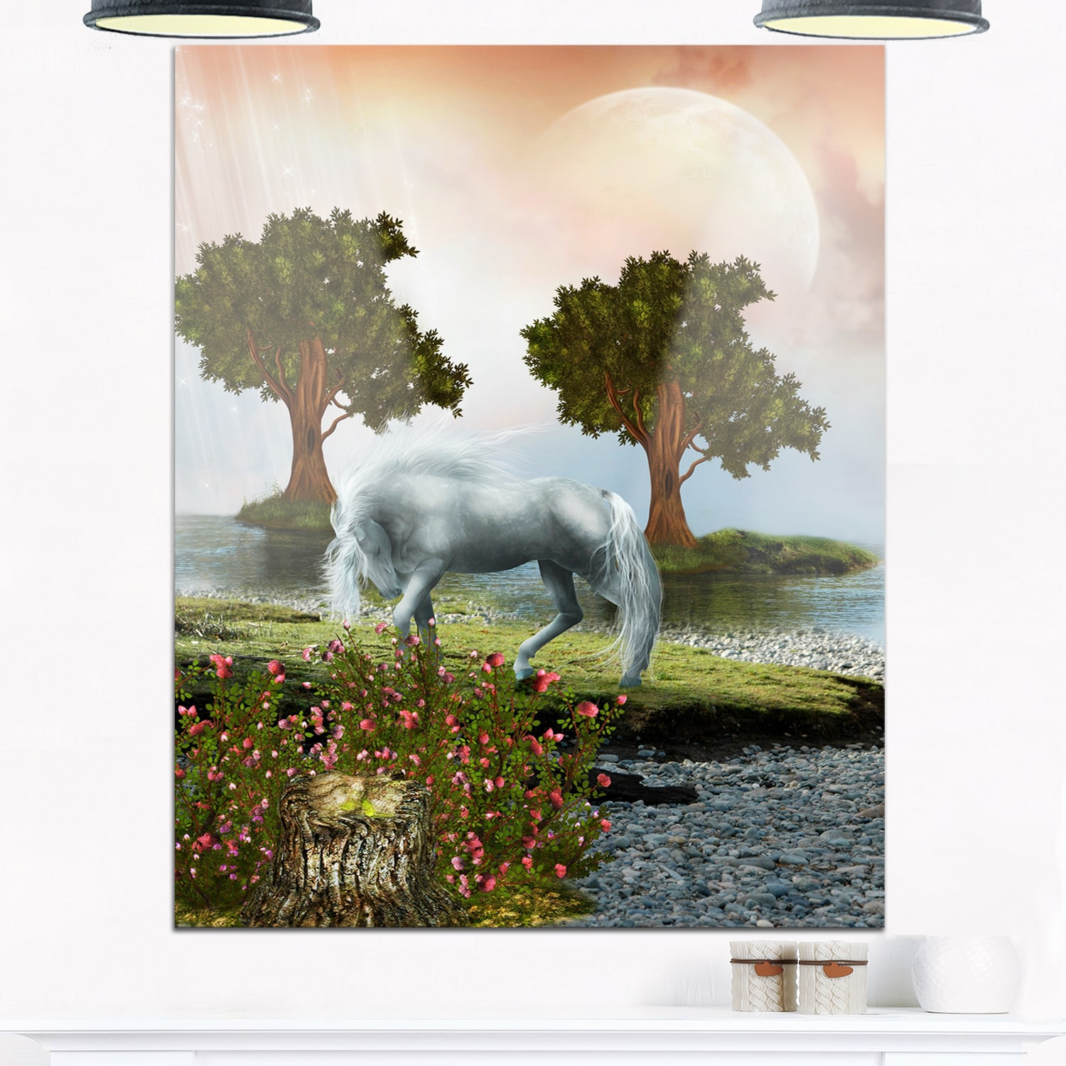 white horse and green trees landscape art glossy metal wall art