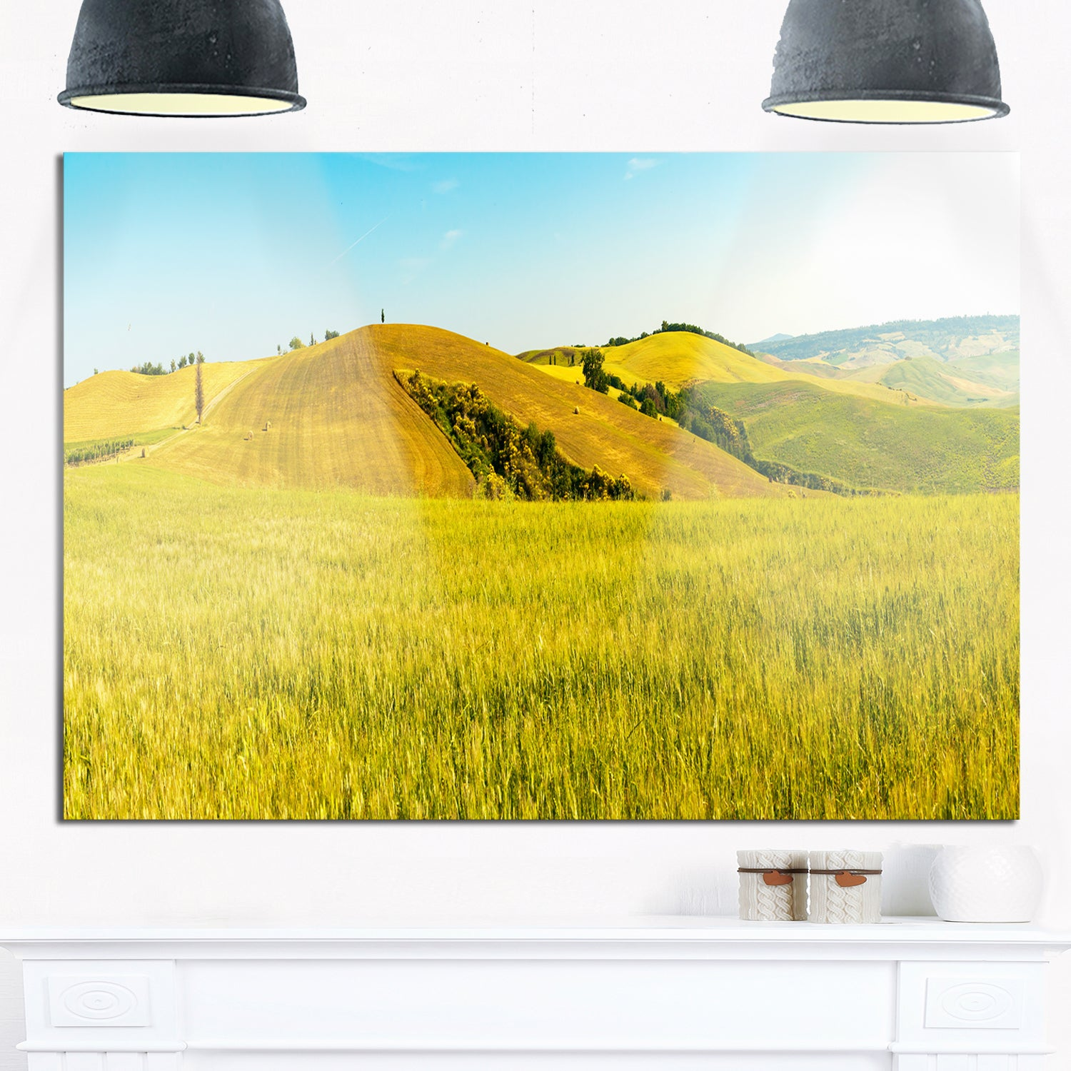 Shop Tuscany Wheat Field on Sunny Day - Landscape Glossy Metal Wall ...