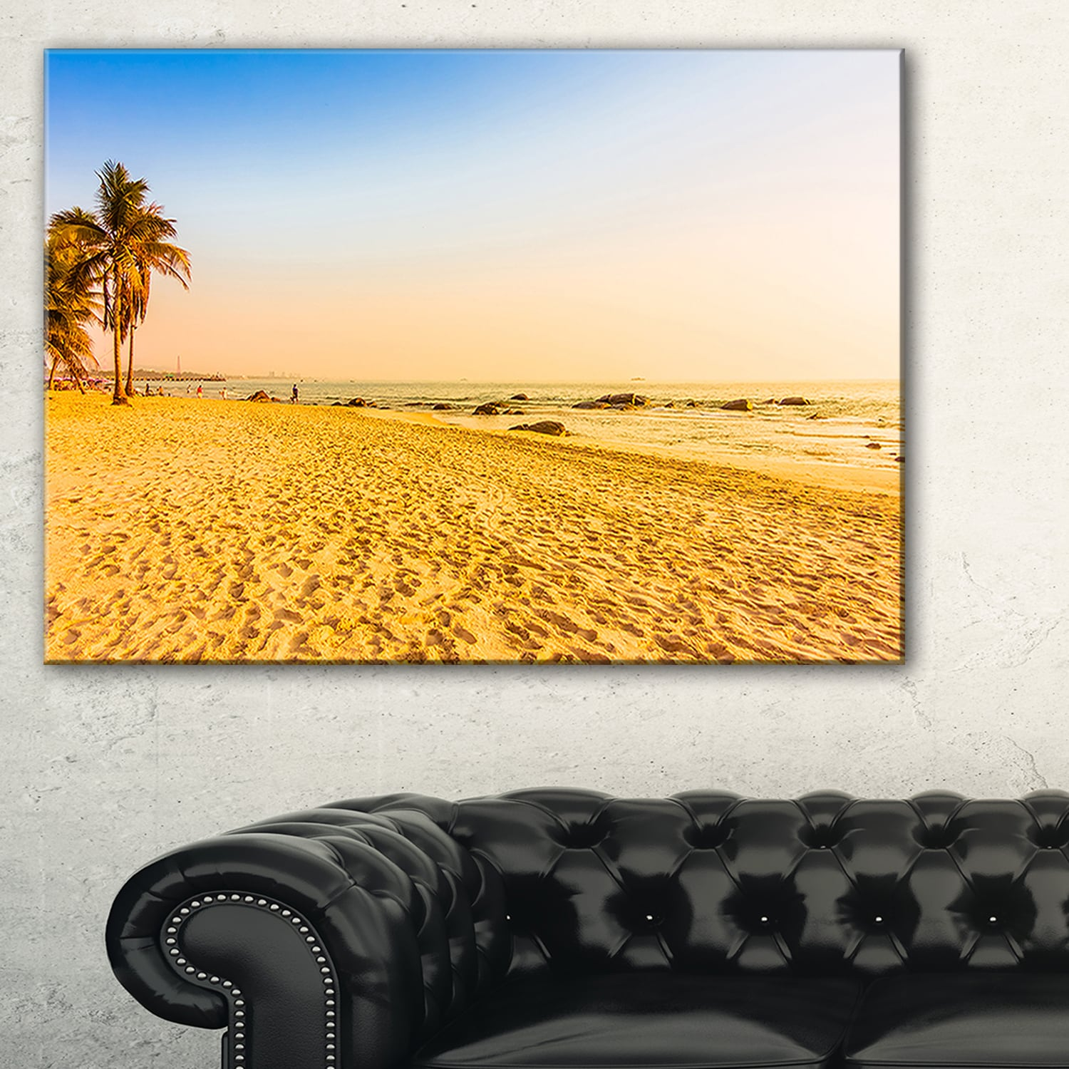 Shop Coconut Palm Trees on Beach - Landscape Photo Glossy Metal Wall ...