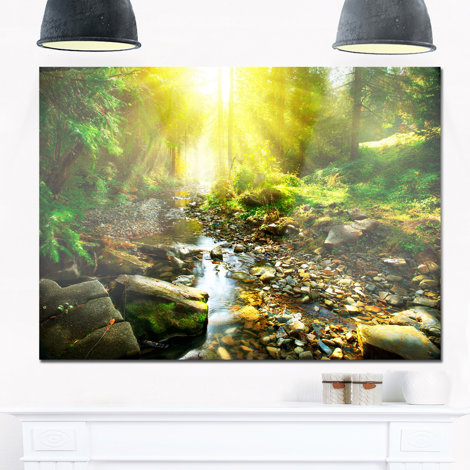 Mountain Stream in Forest - Landscape Photo Glossy Metal Wall Art ...