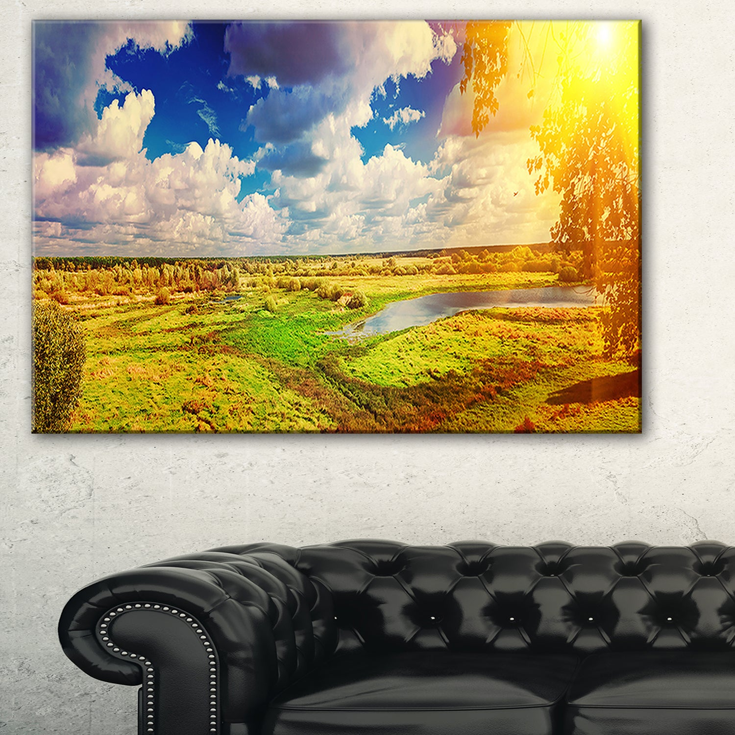 Meadow with Small Flood Sky - Landscape Photo Glossy Metal Wall Art ...