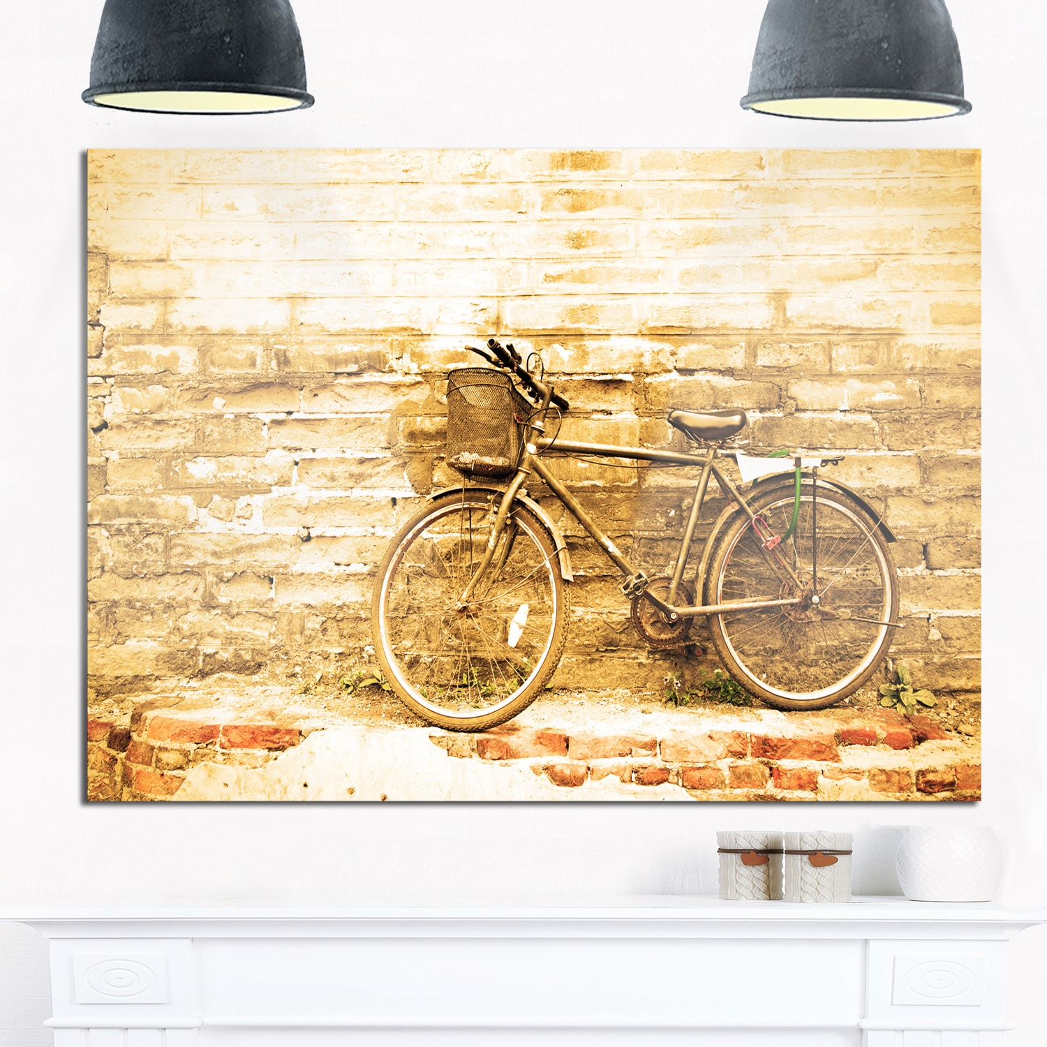 Vintage Bicycle against Brown Wall - Landscape Glossy Metal Wall Art ...