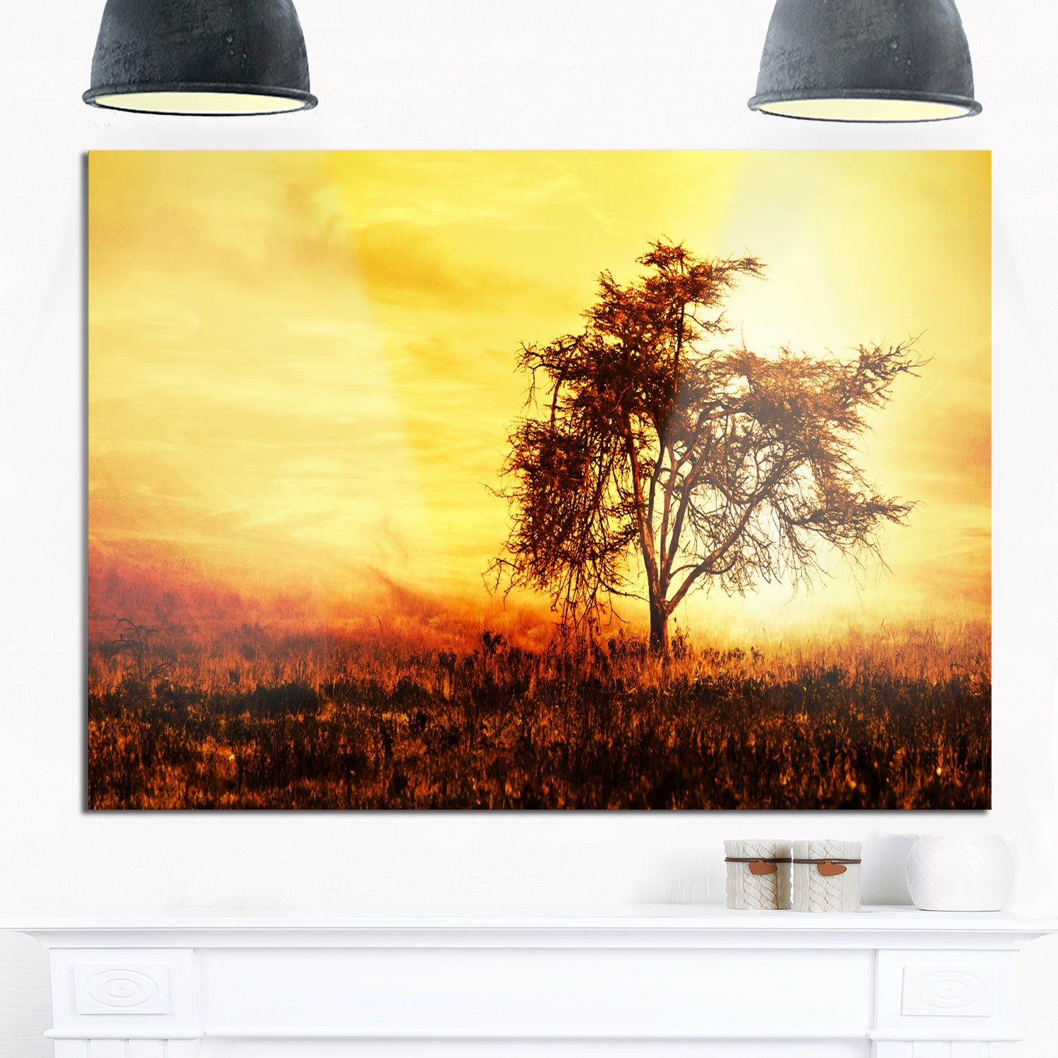 Shop African Tree Silhouette - Landscape Photo Glossy Metal Wall Art ...