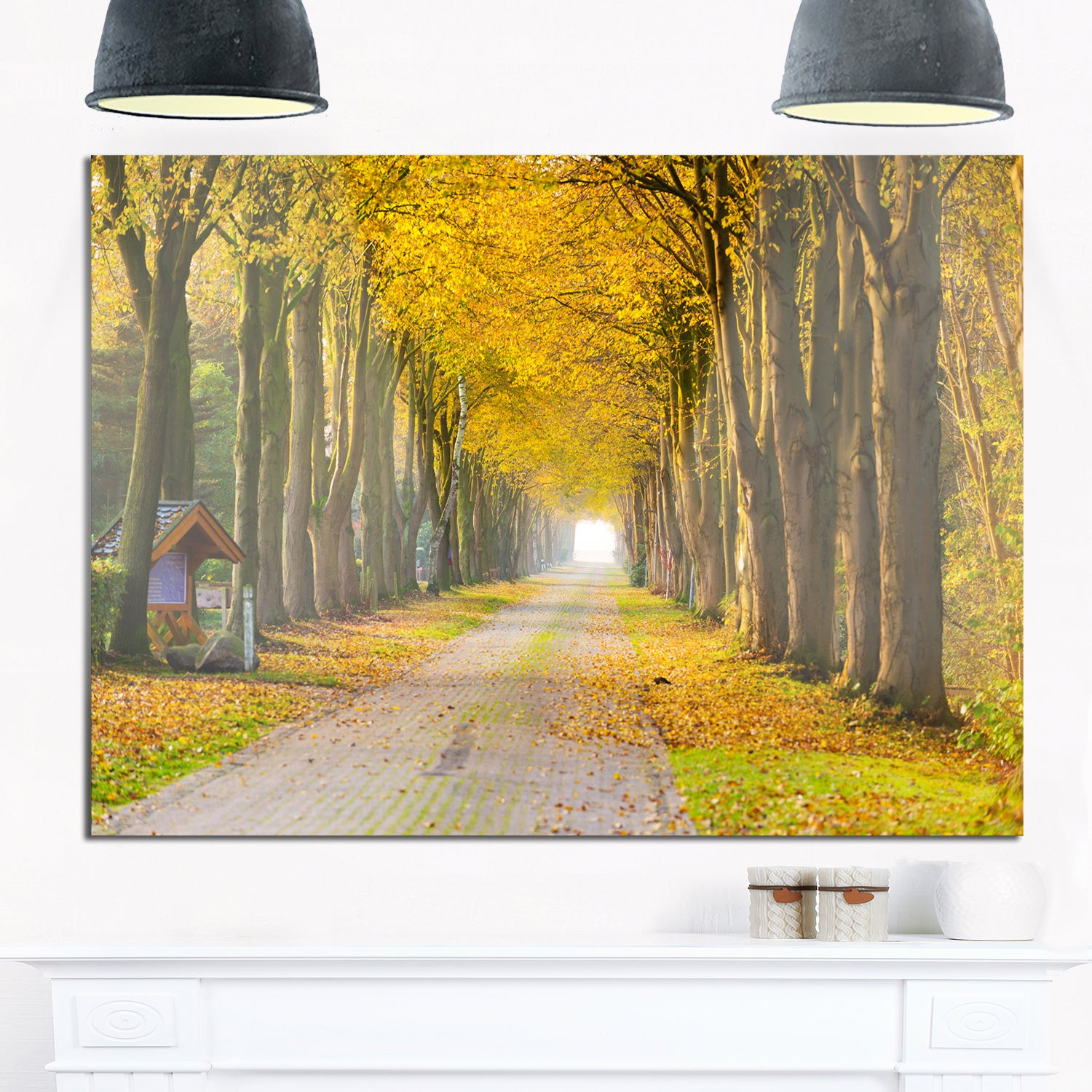 Shop Country Road Below Yellow Trees - Landscape Photo Glossy Metal ...