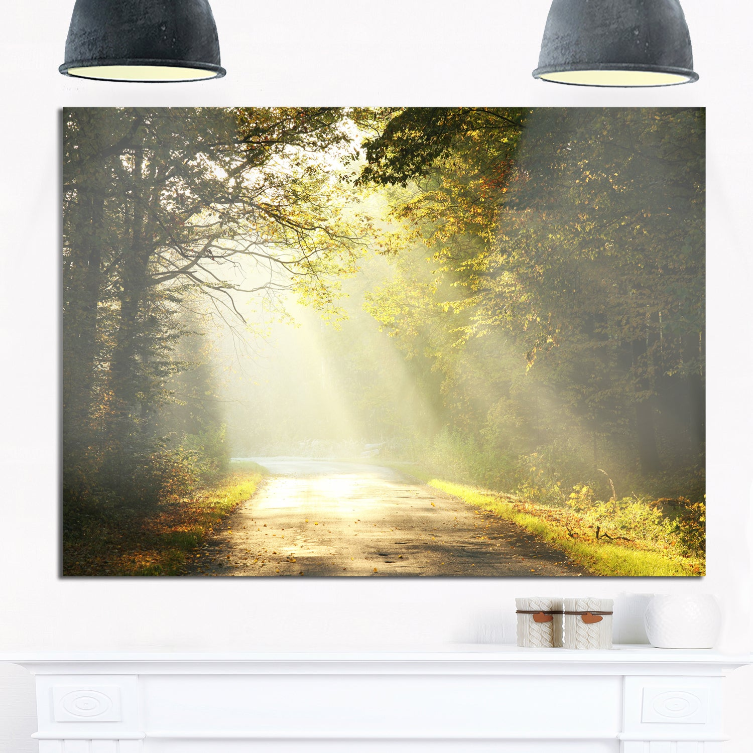 Shop Bright Sunbeams to Fall Forest - Landscape Photo Glossy Metal ...