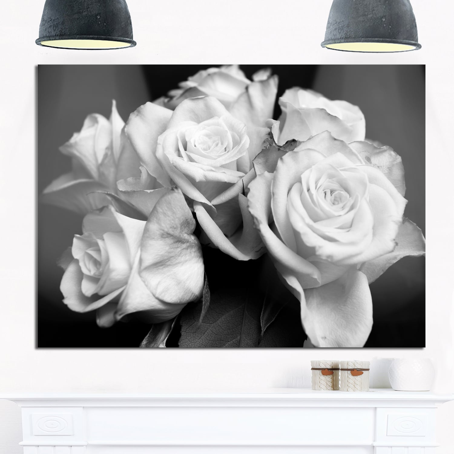 Shop Bunch Of Roses Black And White Floral Glossy Metal Wall Art