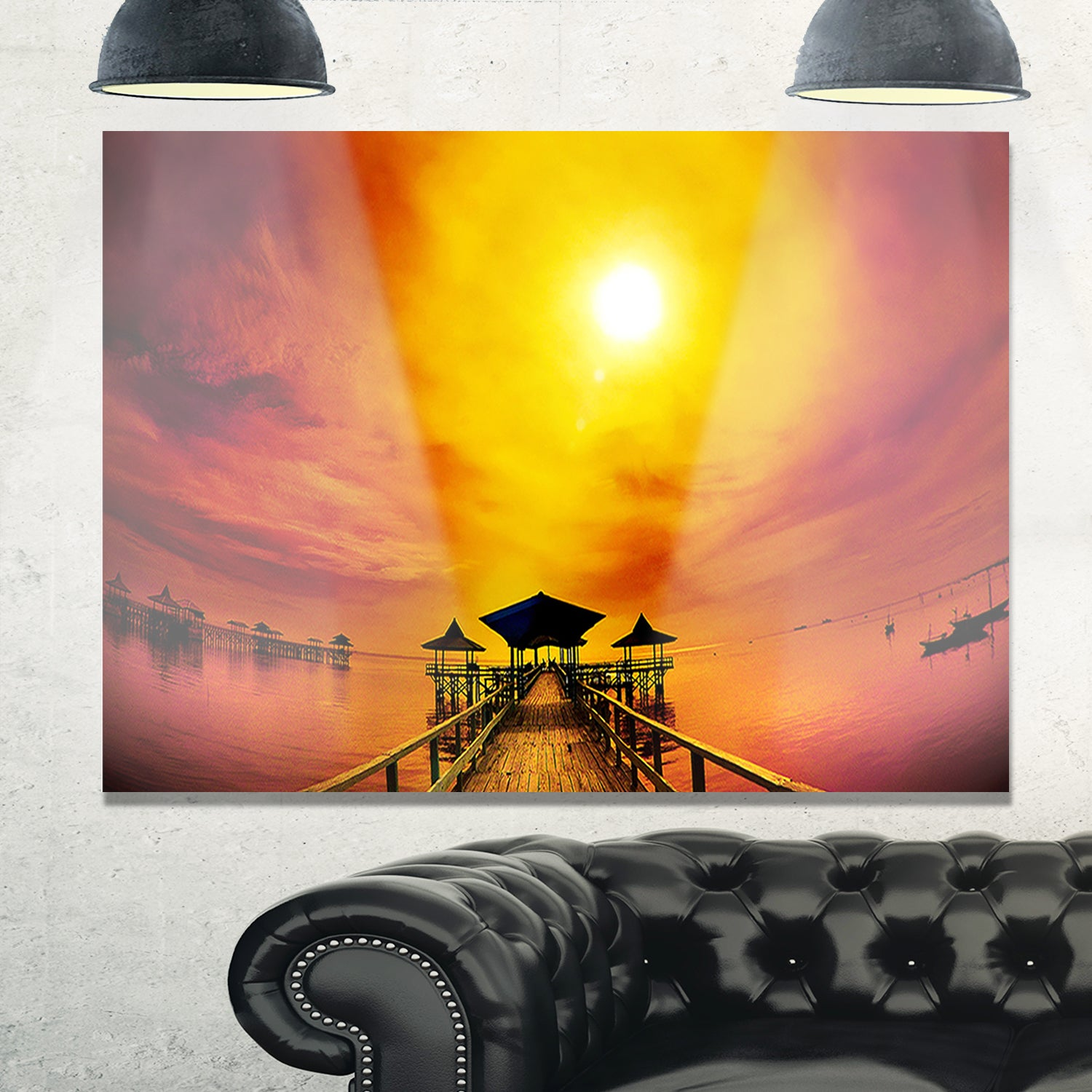 Exotic Wood Pier under Yellow Sun - Sea Bridge Glossy Metal Wall Art ...