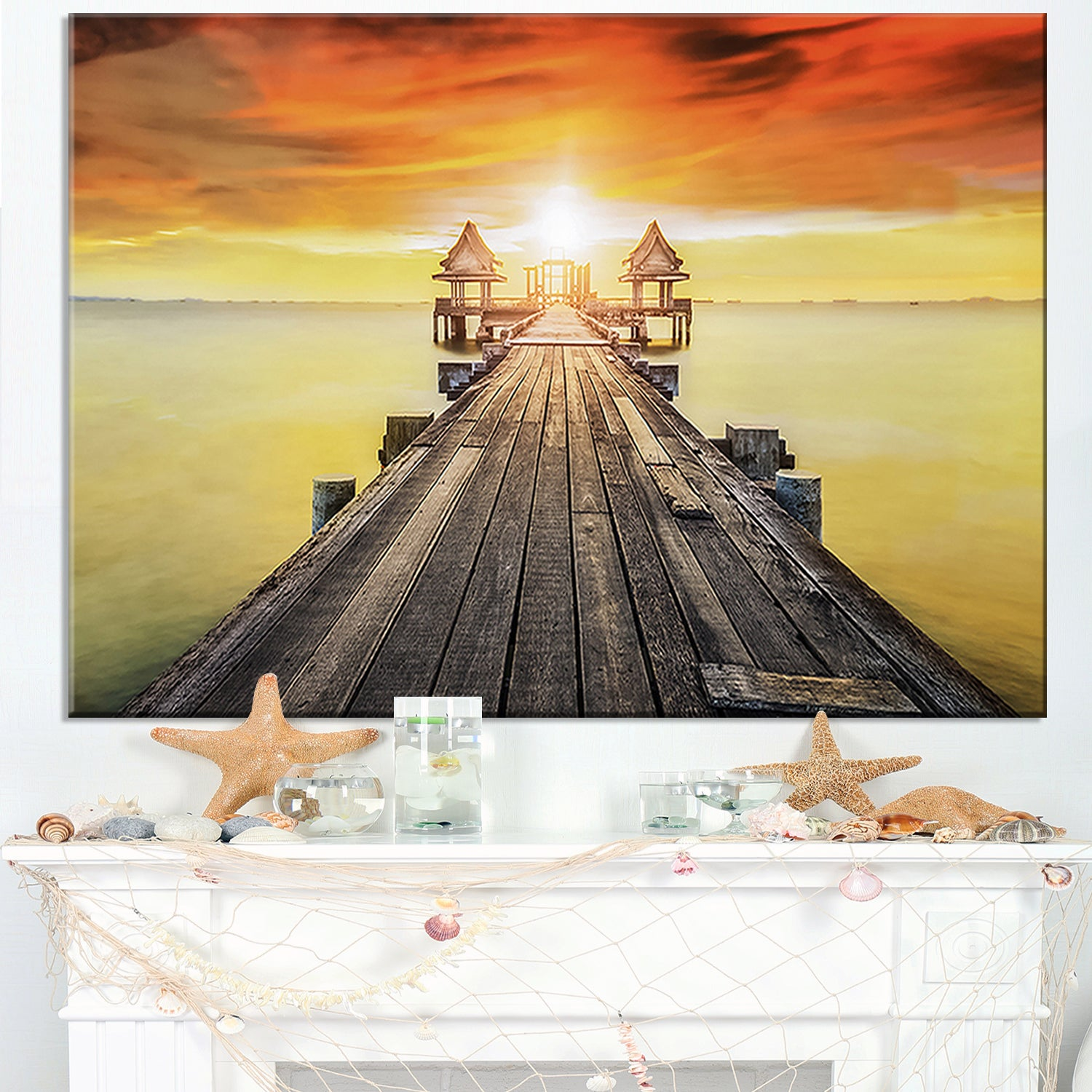 Huge Wooden Pier into Yellow Sun - Sea Pier and Bridge Glossy Metal ...