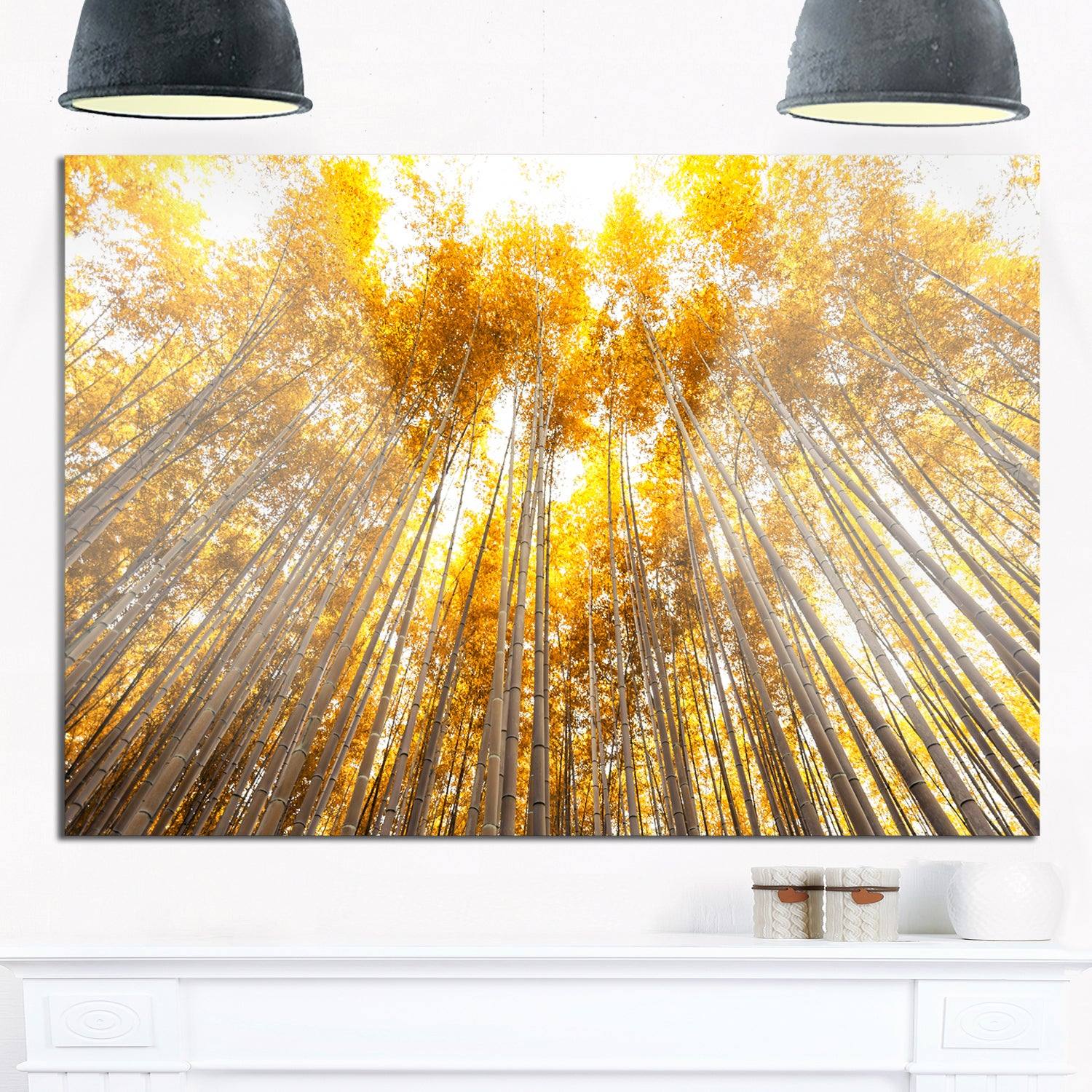 Shop Autumn Bamboo Grove in Yellow - Oversized Forest Glossy Metal ...