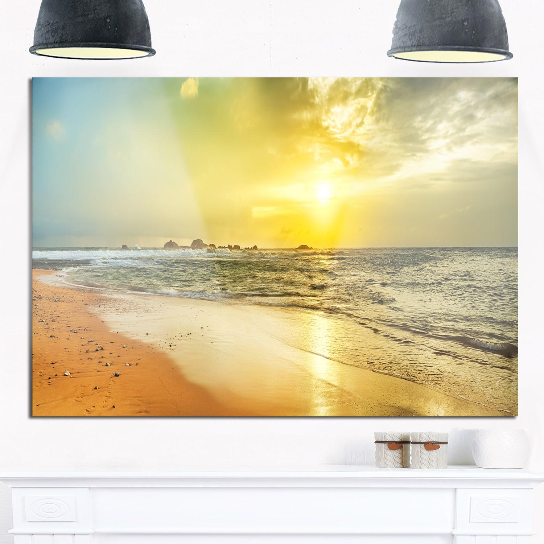 Shop Bright Yellow Sunset Beach Panorama - Modern Seascape Glossy ...