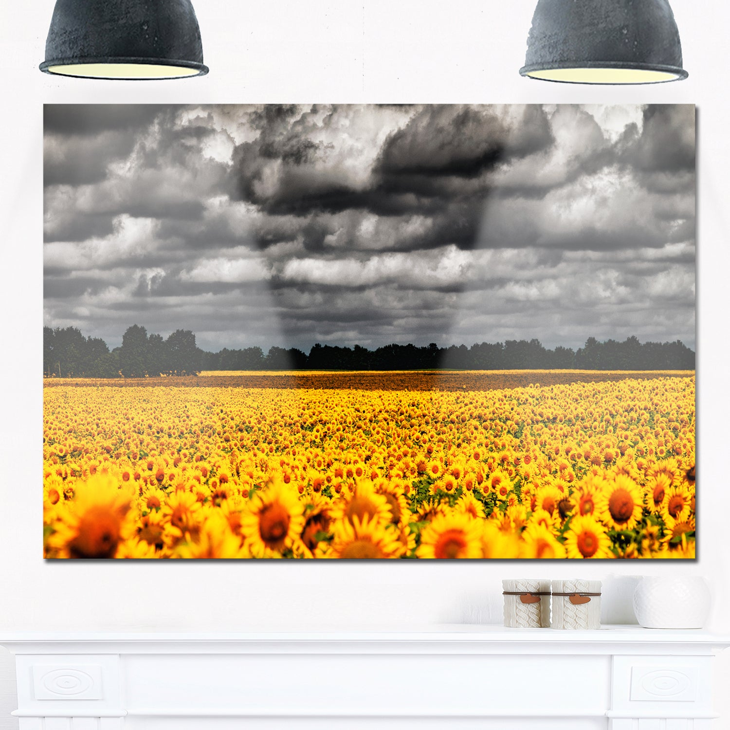 Van Gogh Summer with Clouds - Landscape Glossy Metal Wall Art - Free ...
