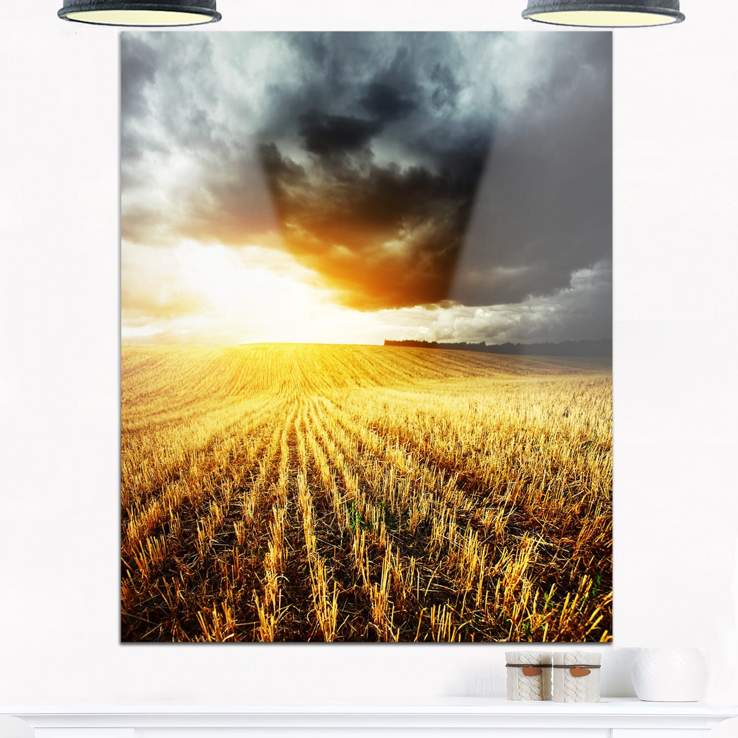 Storm Dark Clouds over Wheat Stems - Landscape Glossy Metal Wall Art ...