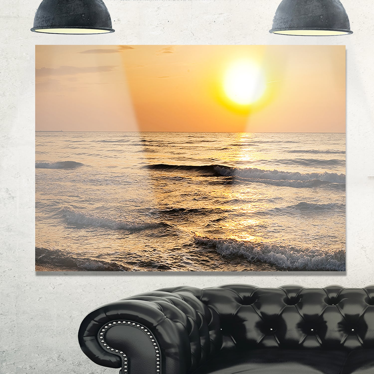 Typical Sunrise with Tranquil Waves - Seashore Glossy Metal Wall Art ...