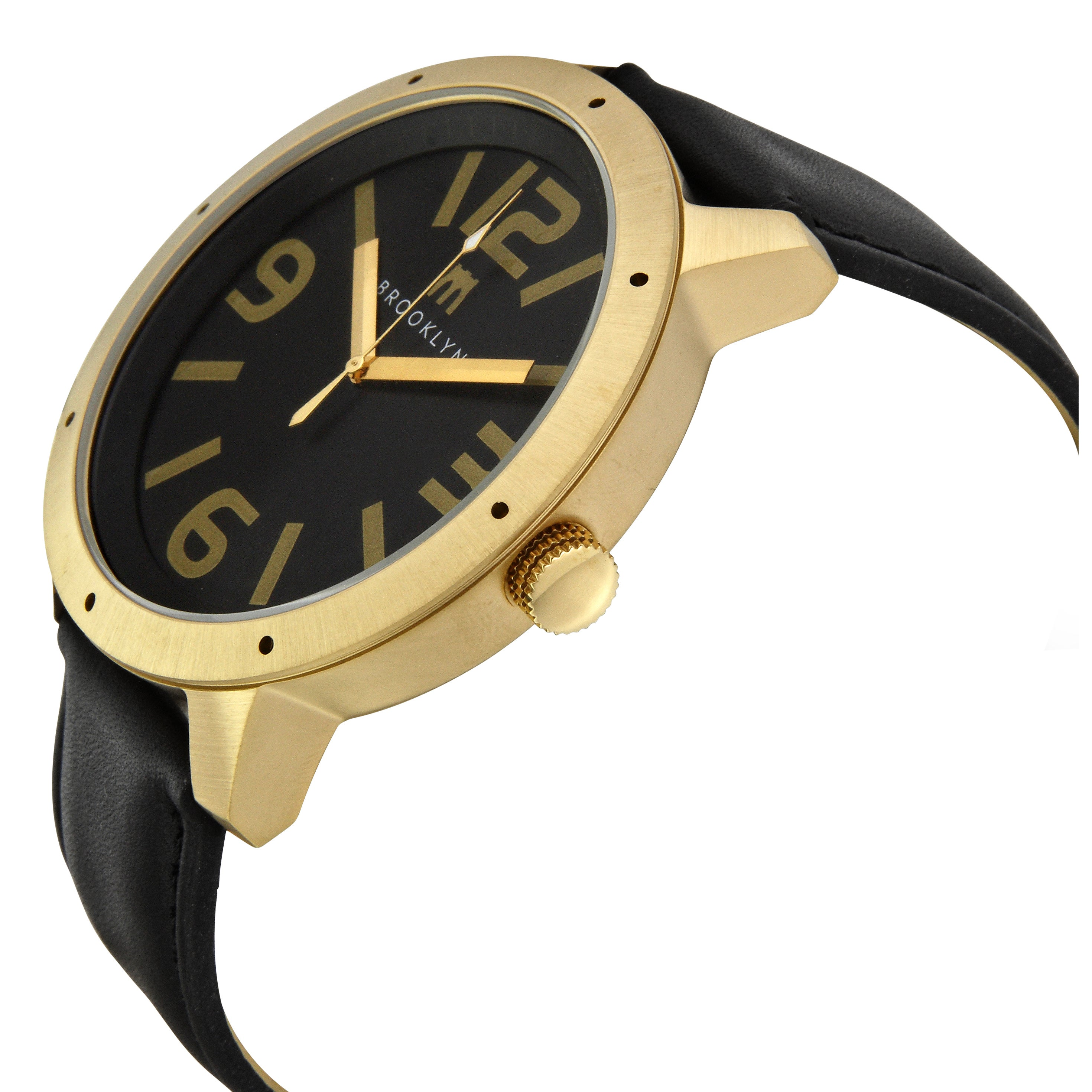 De Kalb Men's Goldtone Steel Black Dial Watch with Leather Strap - Free Shipping Today - Overstock.com - 12796896