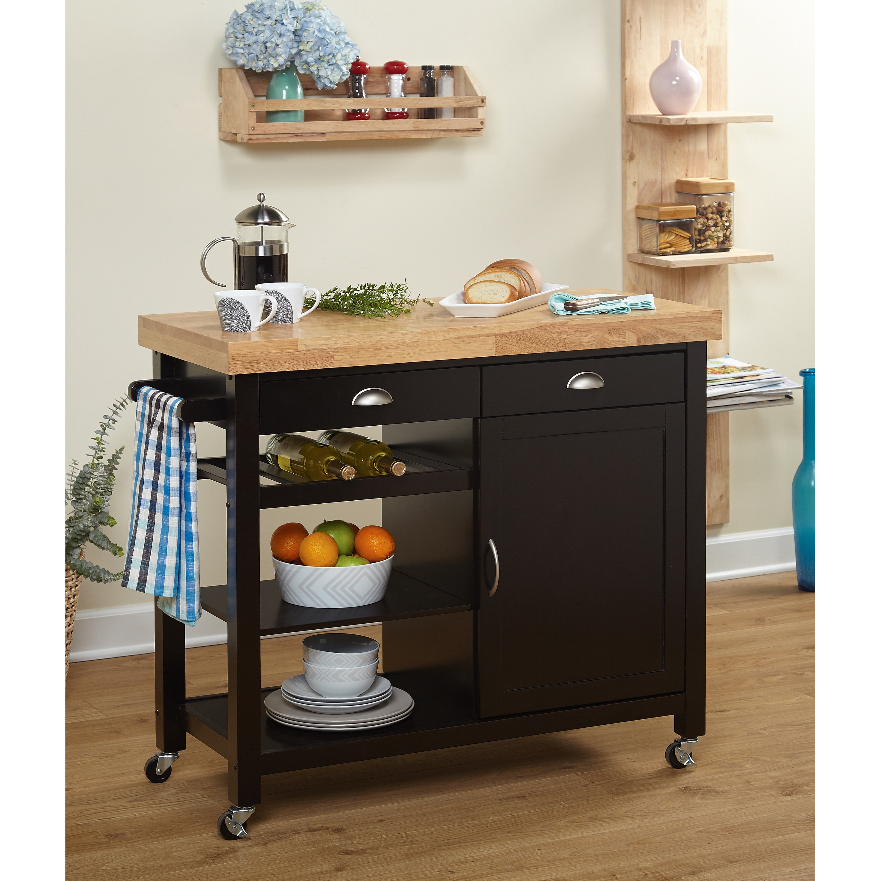 Simple Living Martha Rubberwood Kitchen Cart On Free Shipping Today 12797012