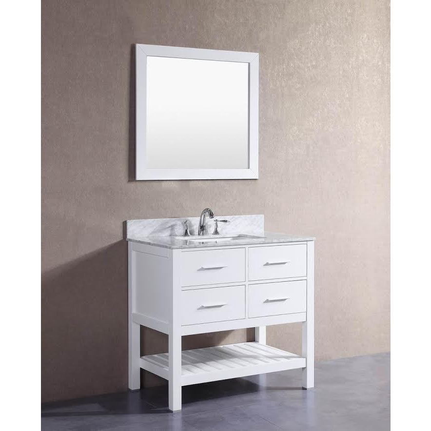 Belvedere London White 36 Inch Bathroom Vanity With Marble Top And Backsplash Free Shipping Today 12802241