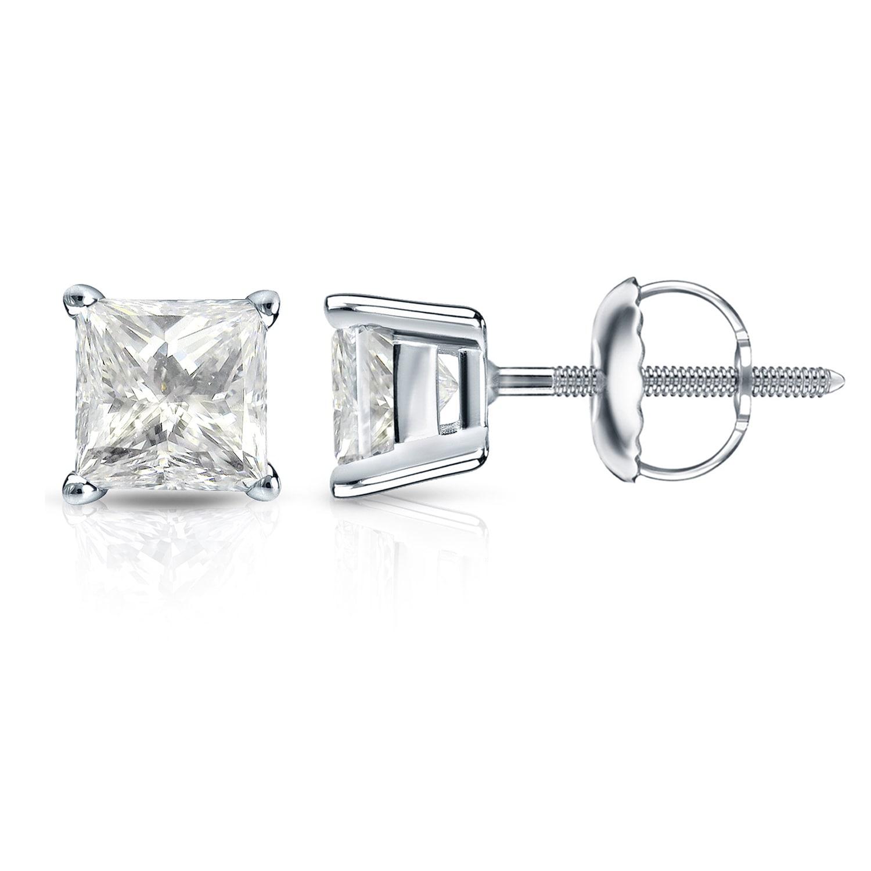 7b8373219972d3 Shop 14k Gold Princess-Cut 1 1/4ct TDW Diamond Stud Earrings by Auriya - On  Sale - Free Shipping Today - Overstock - 12804483