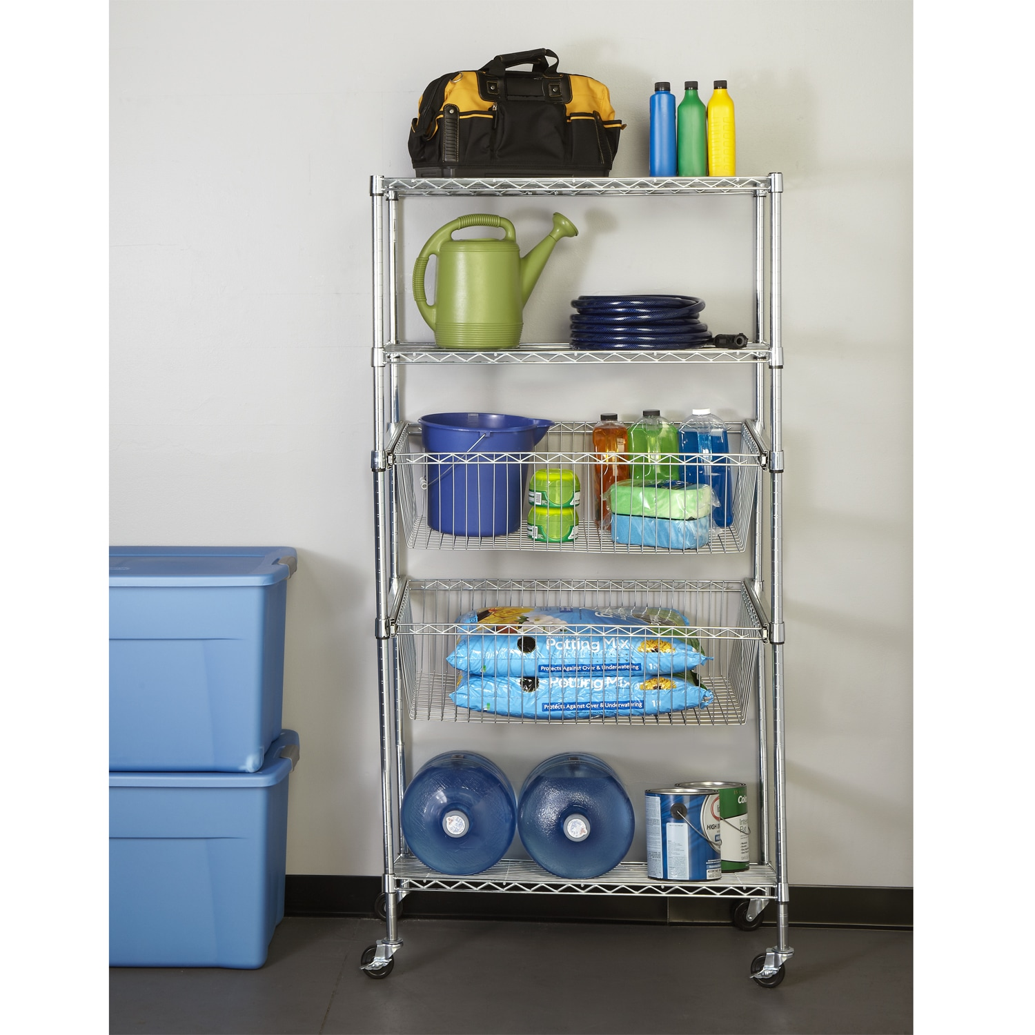 Shop Seville Classics Stainless Steel 5-tier Wire Shelving System ...