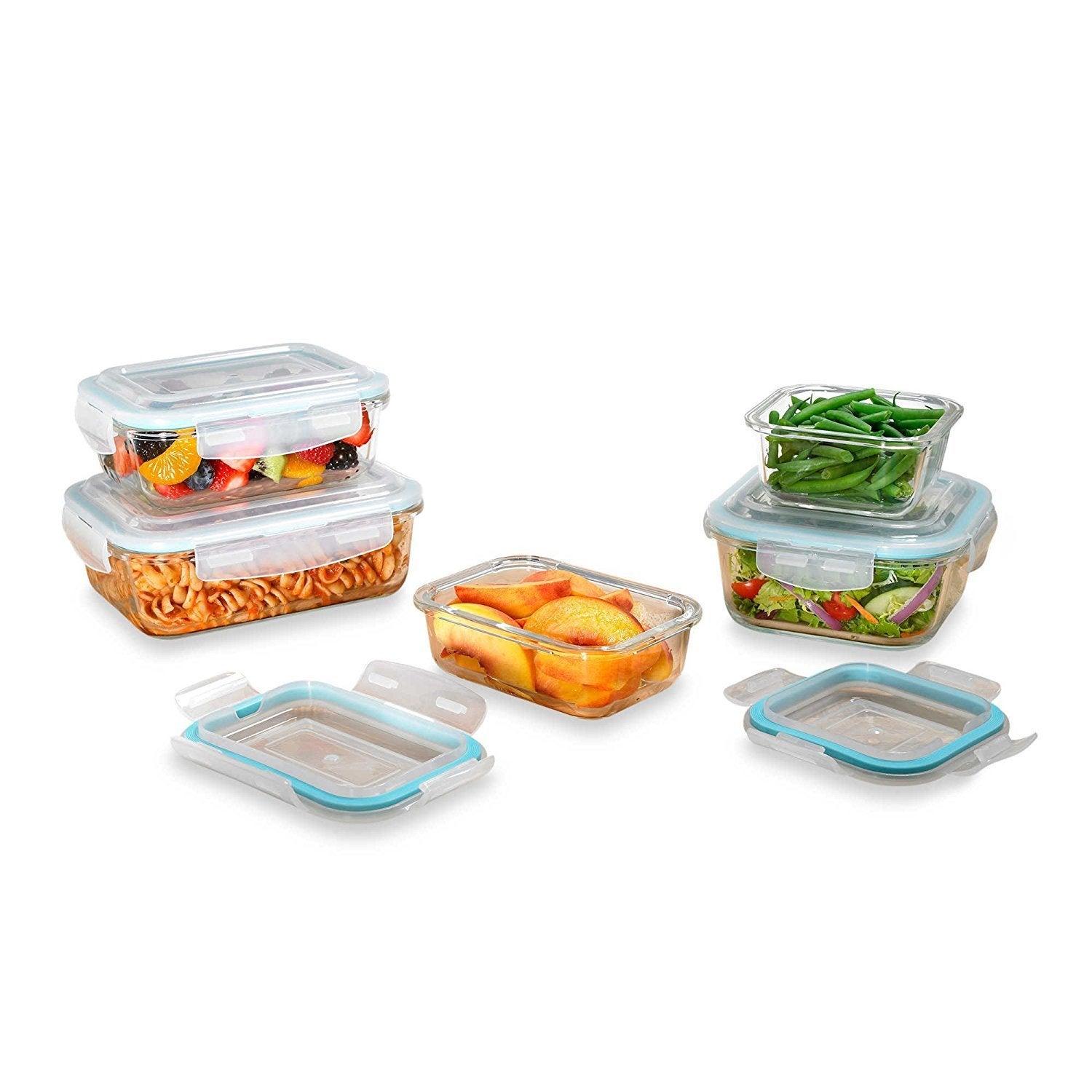 Shop Clear Glass Food Storage Container 10 Piece Set With Locking Lids    Free Shipping On Orders Over $45   Overstock.com   12804826