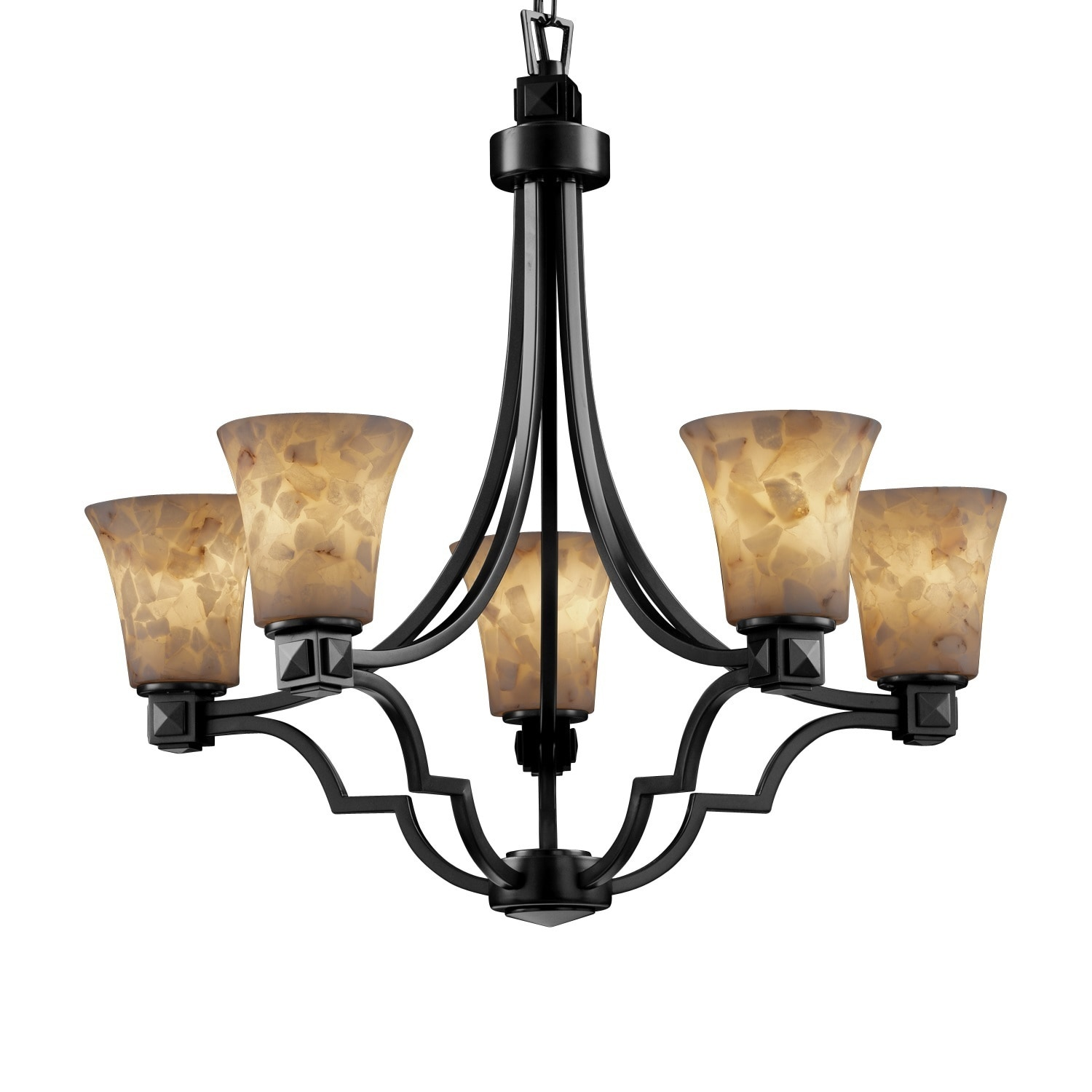 Justice Design Group Alabaster Rocks Argyle 5 light Dark Bronze