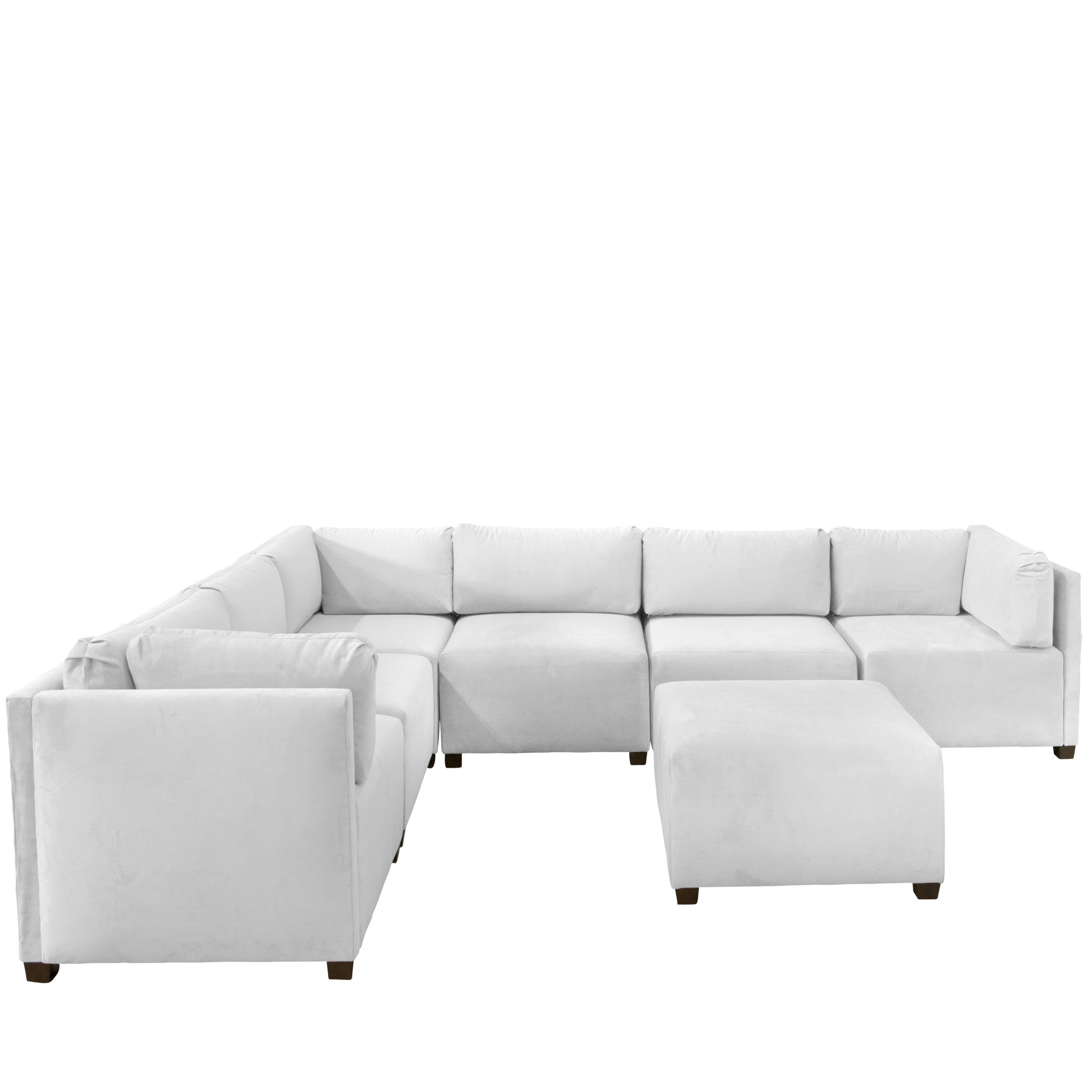 Shop Skyline Furniture Velvet White Sectional Sofa Free Shipping