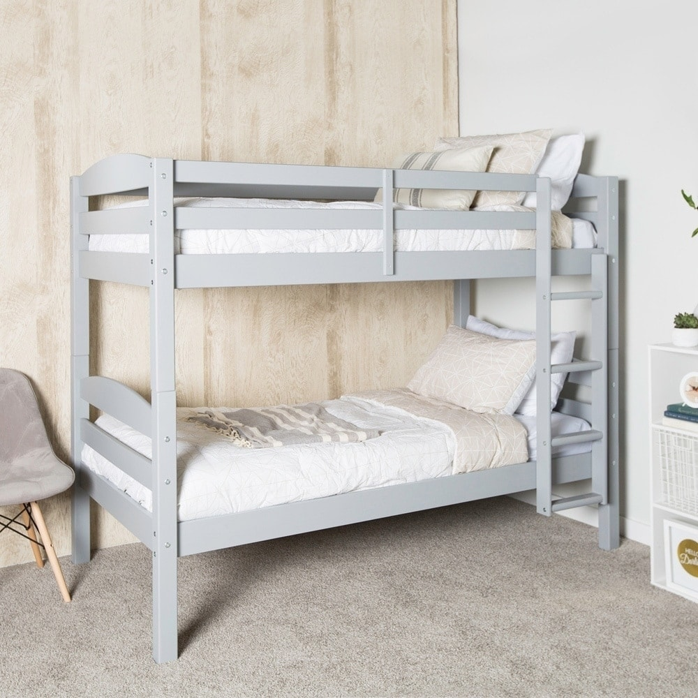 Shop Wood Twin Over Twin Bunk Bed Grey On Sale Free Shipping