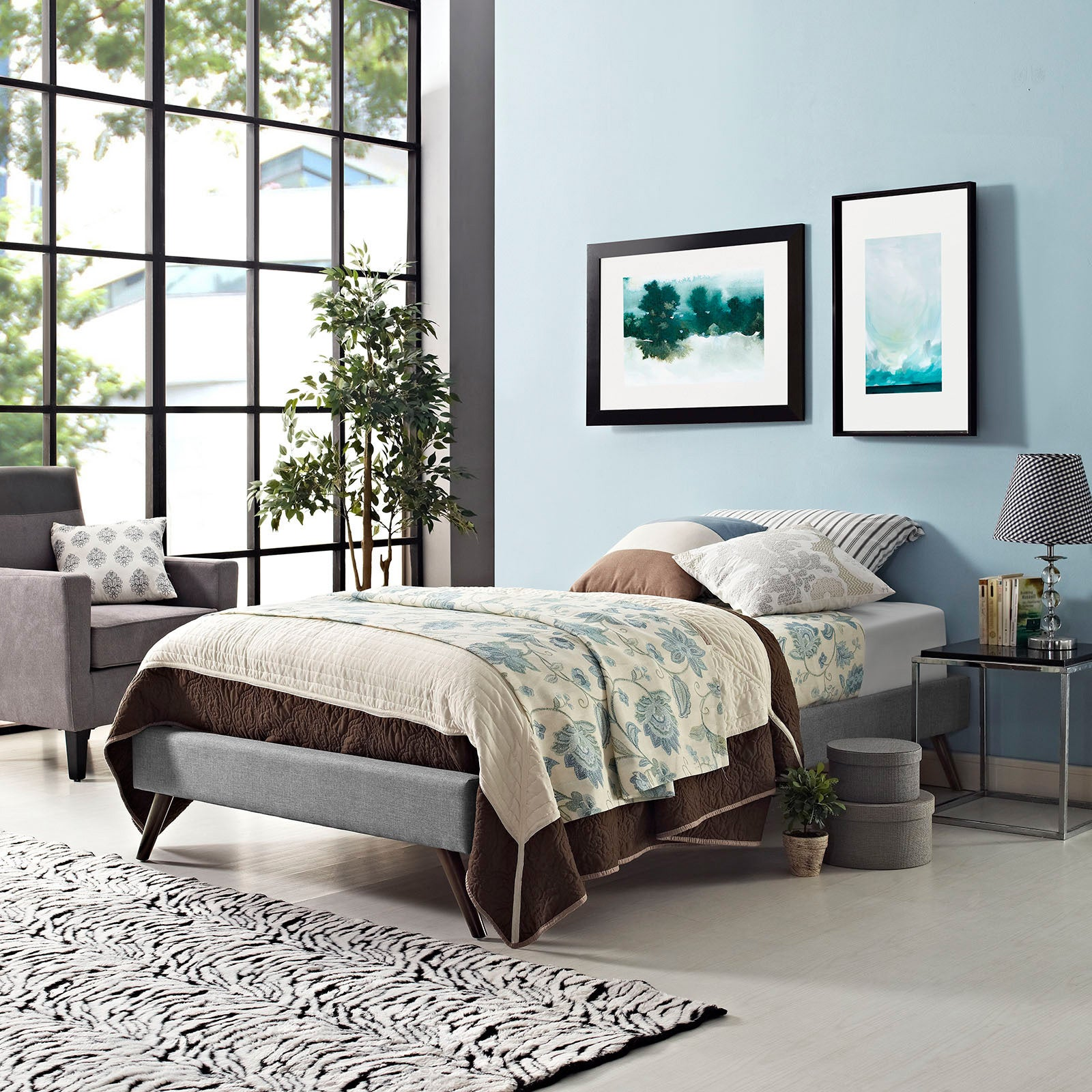 Carson Carrington Storfors Light Grey Wood Bed Frame With Splayed