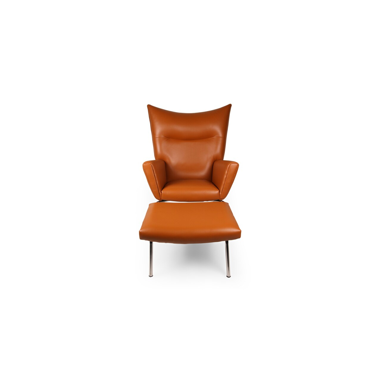 shop kardiel wegner style premium leather wing chair and ottoman