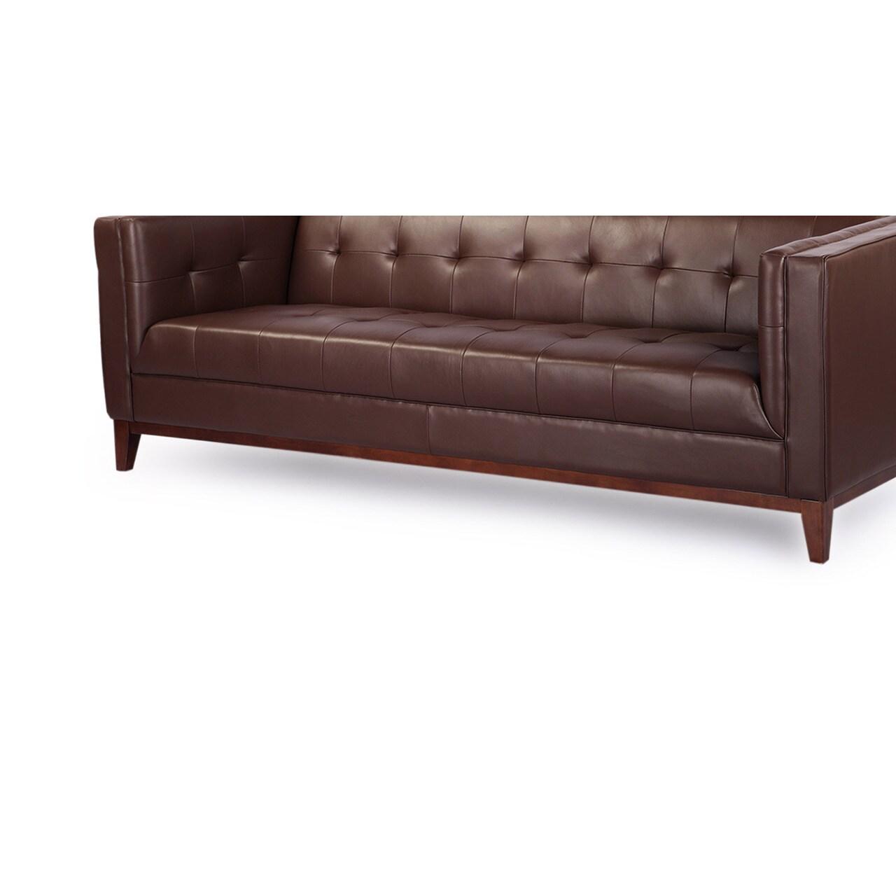Copper Grove Kinglake Mid Century Modern Loft Sofa Premium Aniline Leather Free Shipping Today 12815883