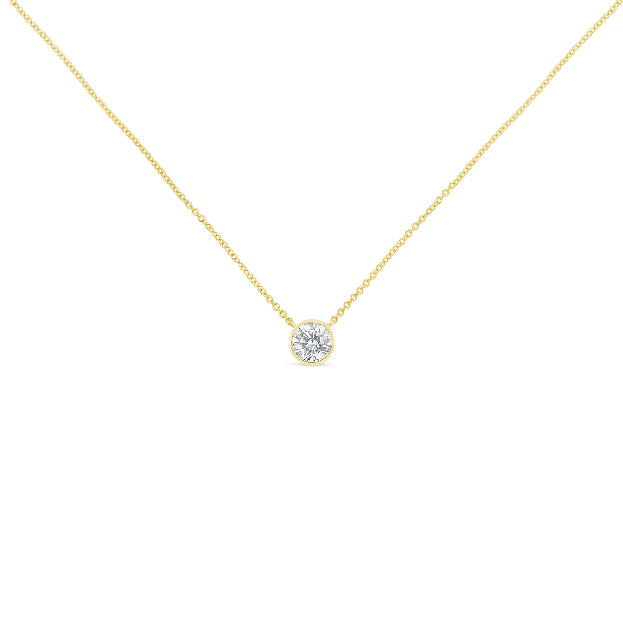 Shop 10k gold 01ct tdw bezel set diamond solitaire pendant tdw bezel set diamond solitaire pendant necklaceh isi2 i1 on sale free shipping today overstock 12816178 aloadofball Image collections