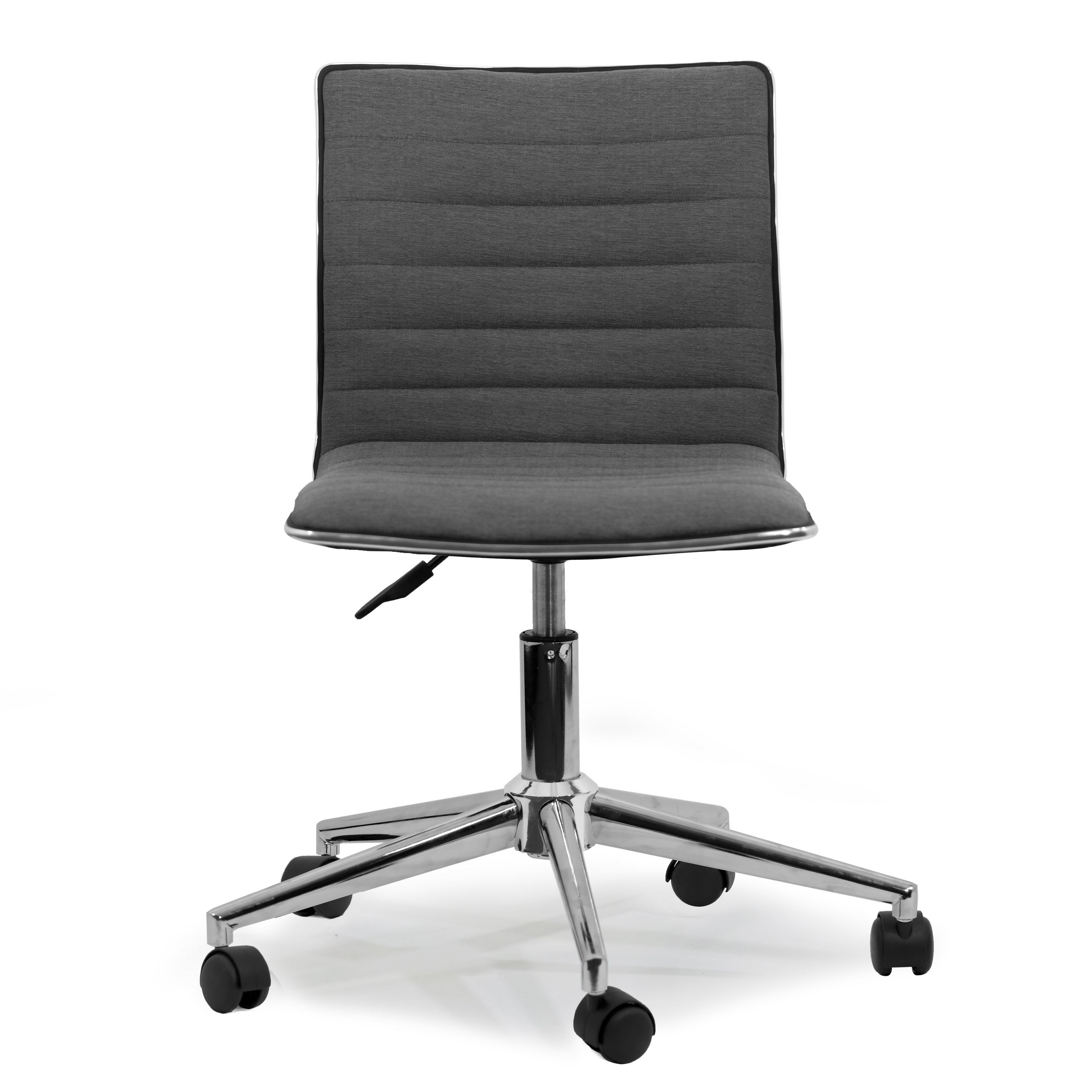 Aiko Grey Fabric Chrome Metal Swivel Office Chair With Wheels On Free Shipping Today 12816273