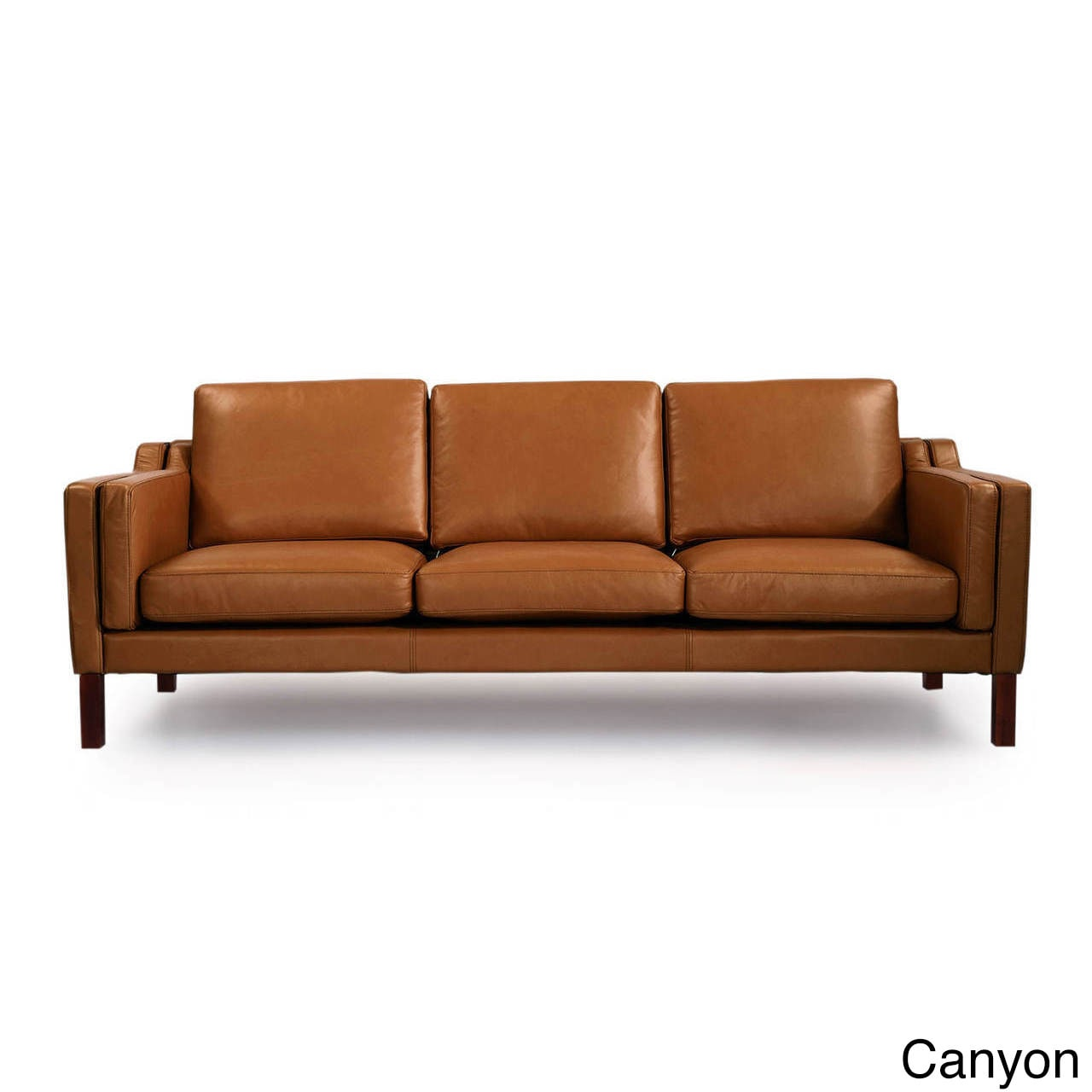 Shop Kardiel Monroe Mid Century Modern Leather 3 Seat Sofa   Free Shipping  Today   Overstock.com   12816594