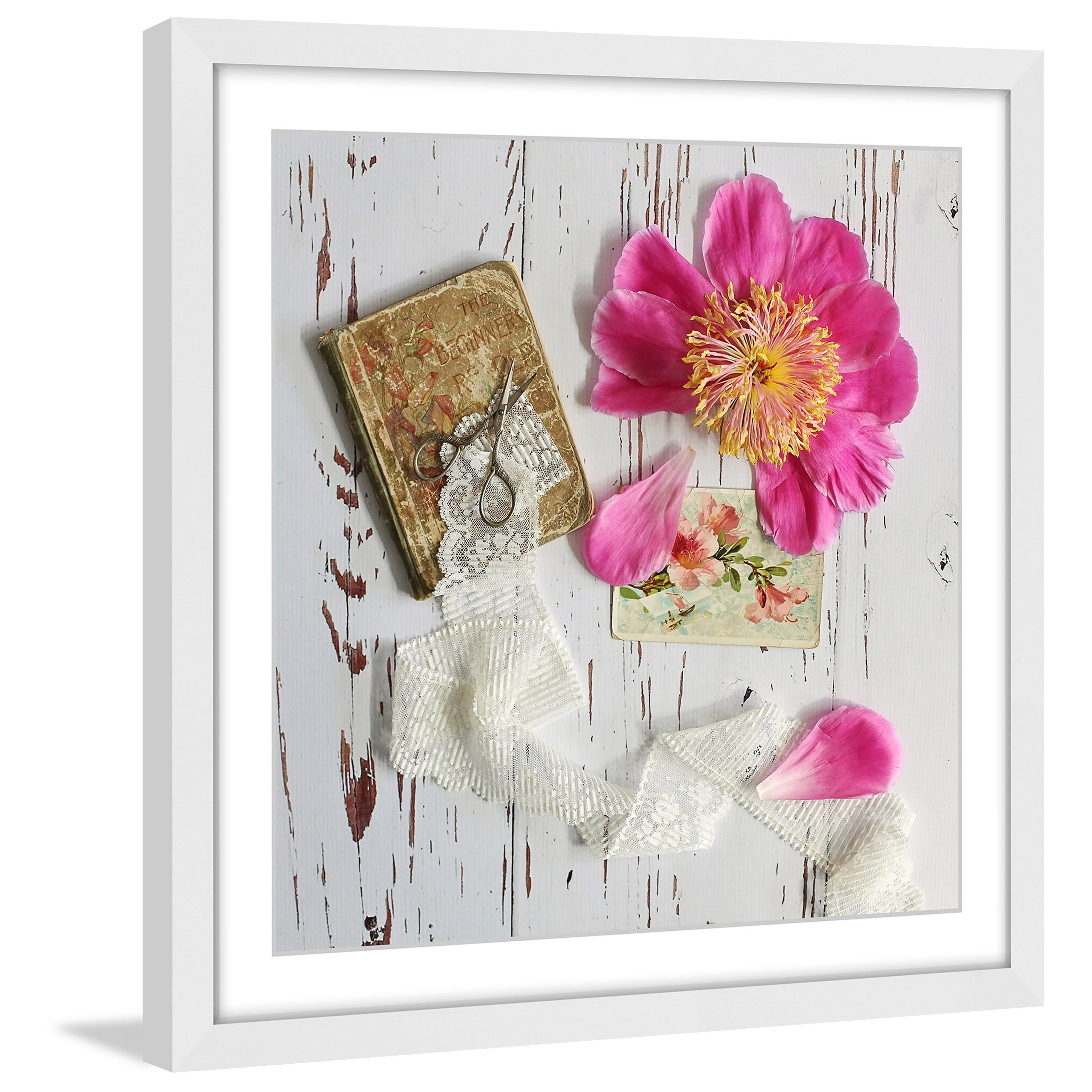 Shop Marmont Hill - \'Peony and Lace\' by Sylvia Cook Framed Painting ...