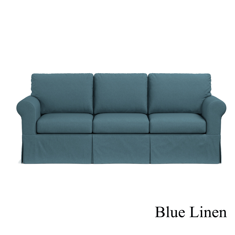 Handy Living Undercover Custom Bella Sofast Sofa With Skirted  ~ Turquoise Slipcover Sofa