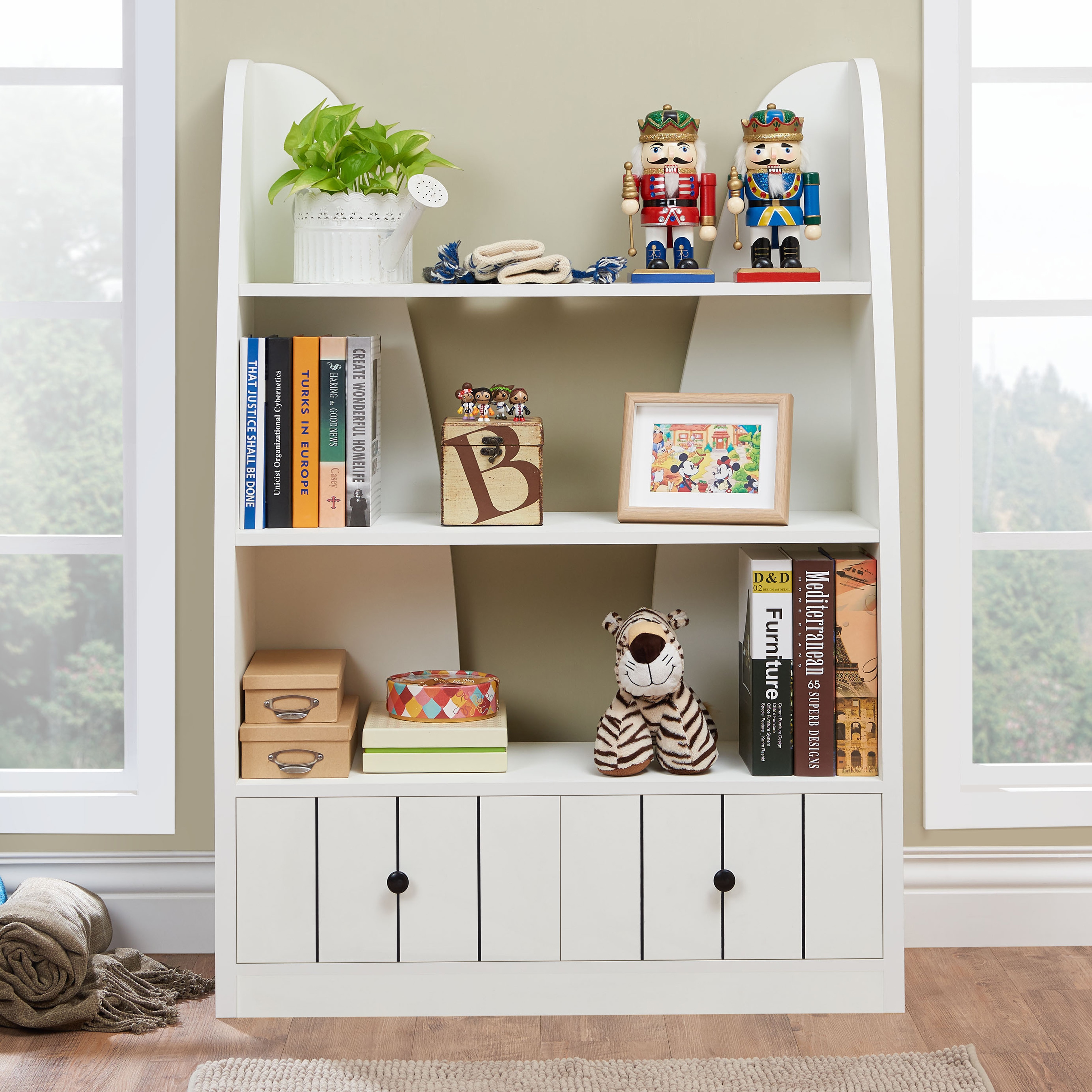 shelf has paint is trim tiers bookcases light bookshelf bookcase and chic cottage fluted this pin back panel with pale wood solid a blue in finish featured