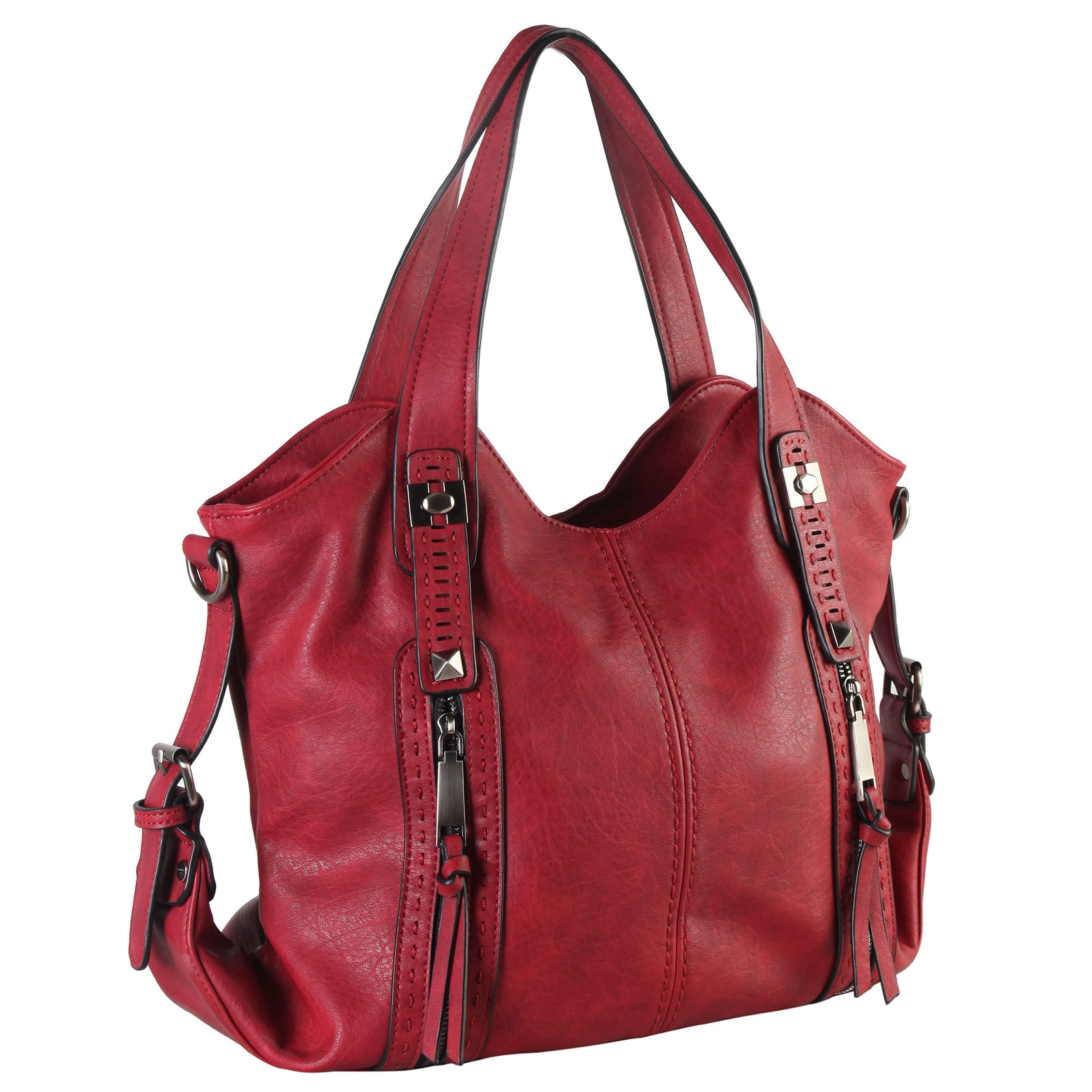 99d96ce852c1 Shop Diophy Faux Leather Double Front Pockets Hobo Handbag - Free Shipping  Today - Overstock - 12820496