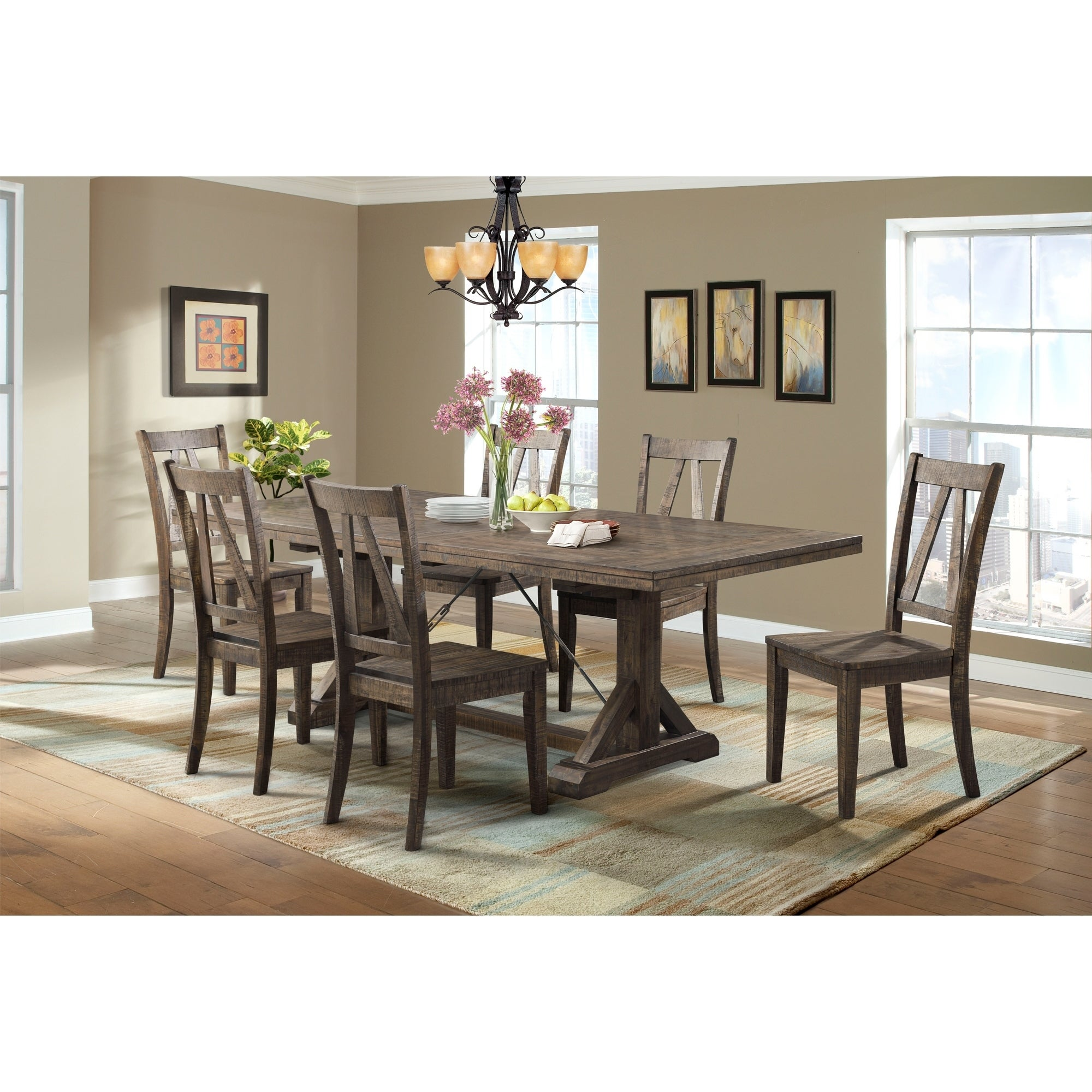 Picket house furnishings flynn 7pc dining set table 6 wooden dining chairs