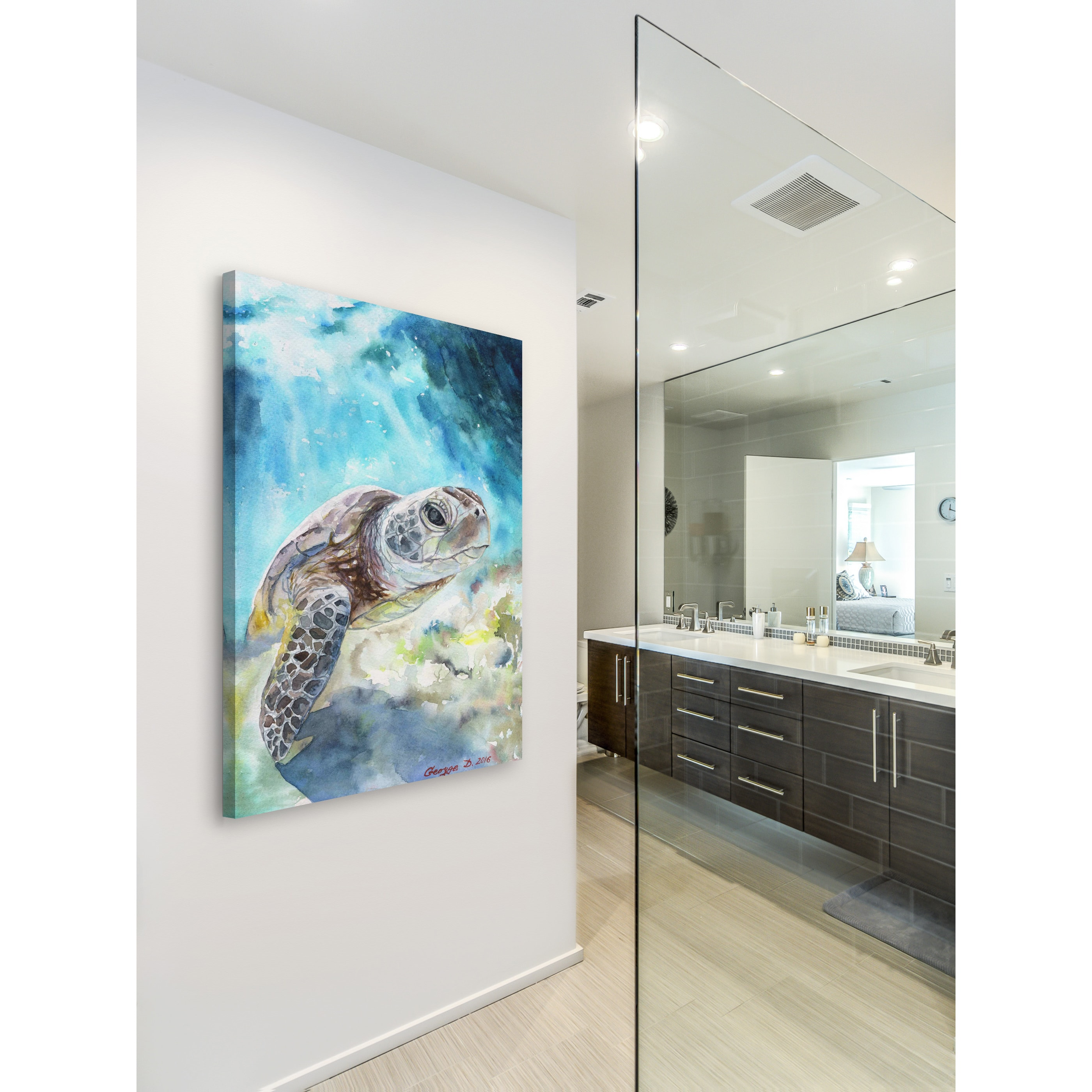 Shop Marmont Hill - \'Sea Turtle\' by George Dyachenko Painting Print ...