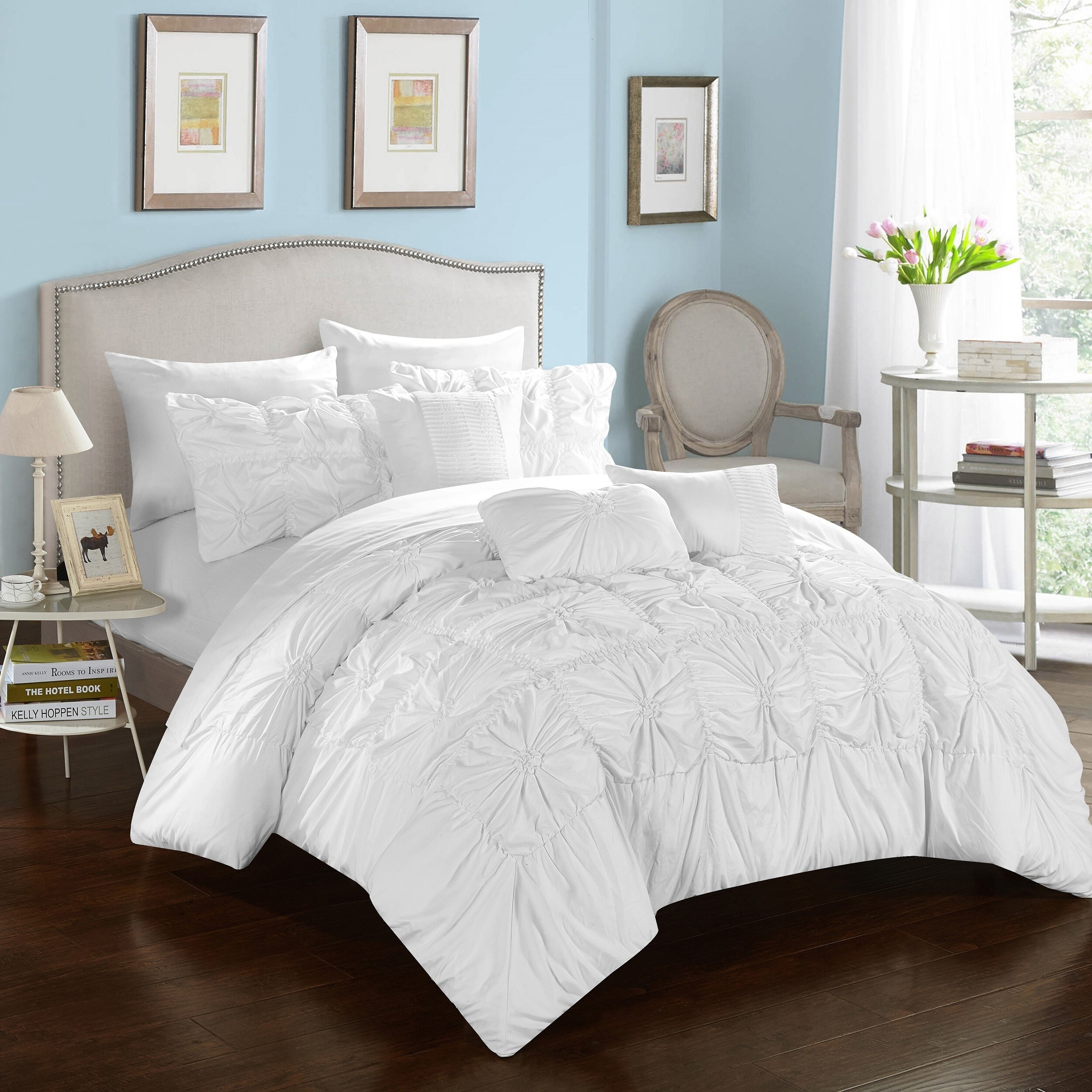 Oliver & James Siah White 10-piece Bed in a Bag Comforter Set - Free ...