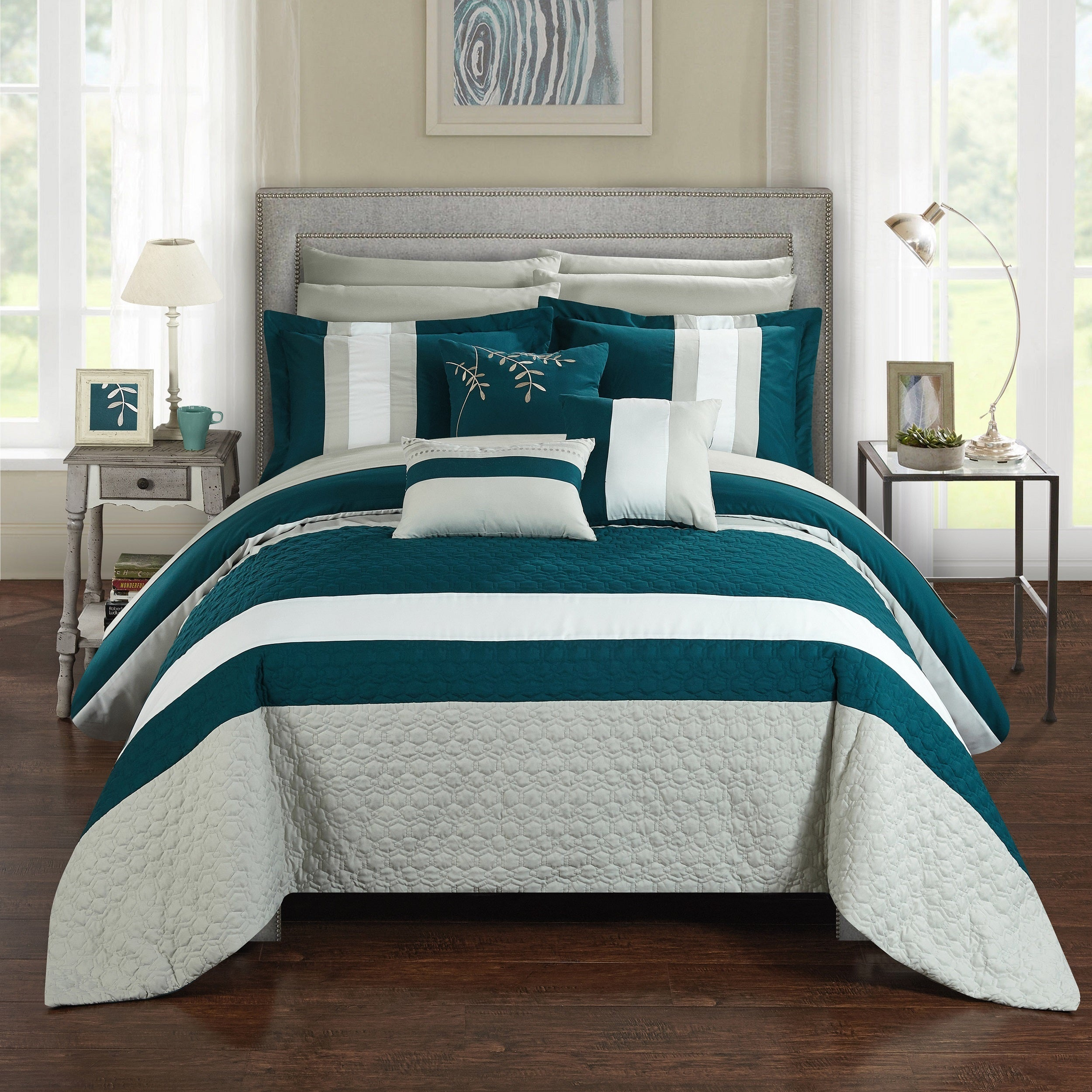 modern chevron comforter grey blue stripe new teal queen pin set full aqua sporty