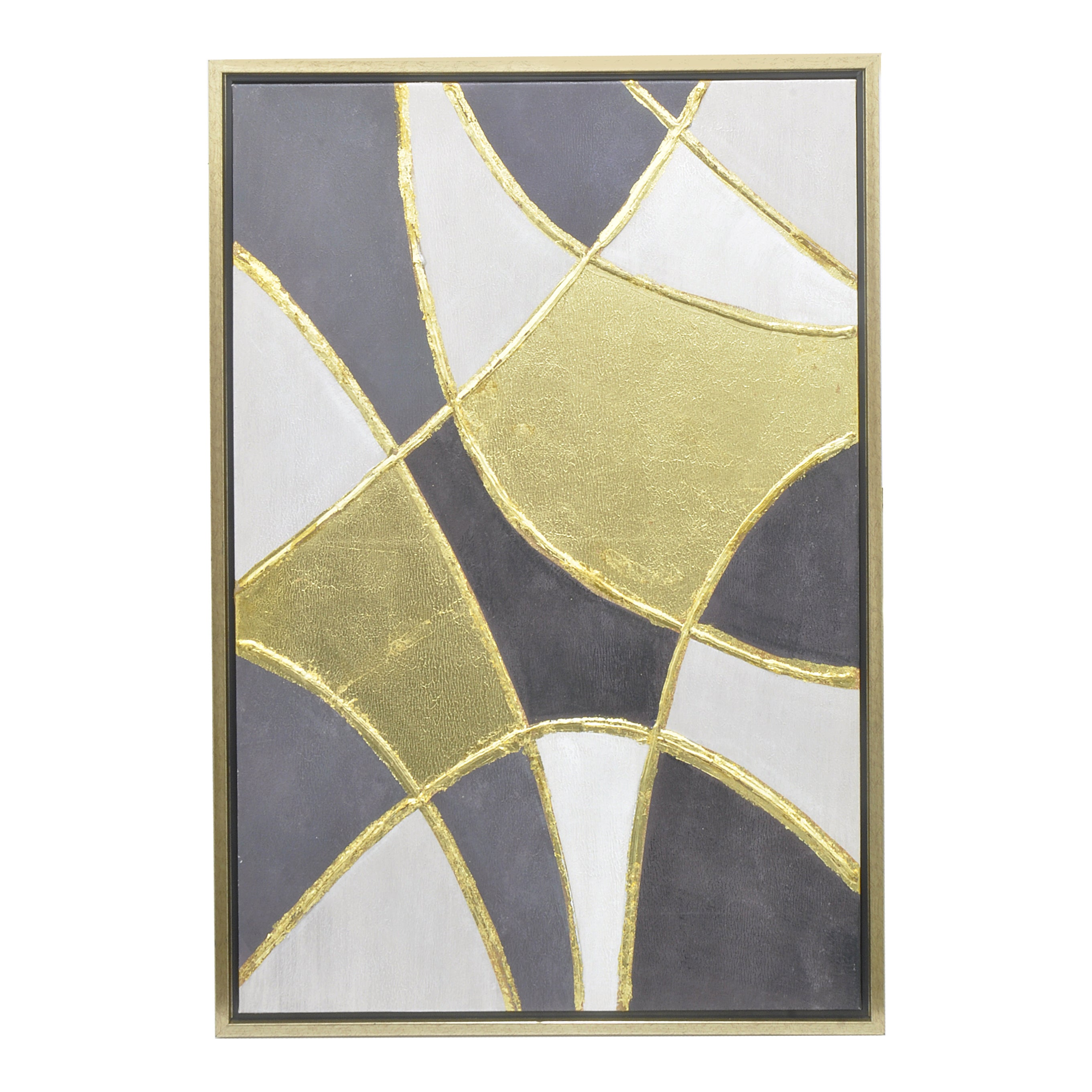 Shop Three Hands Contemporary Black, Gold, and White Framed Oil ...