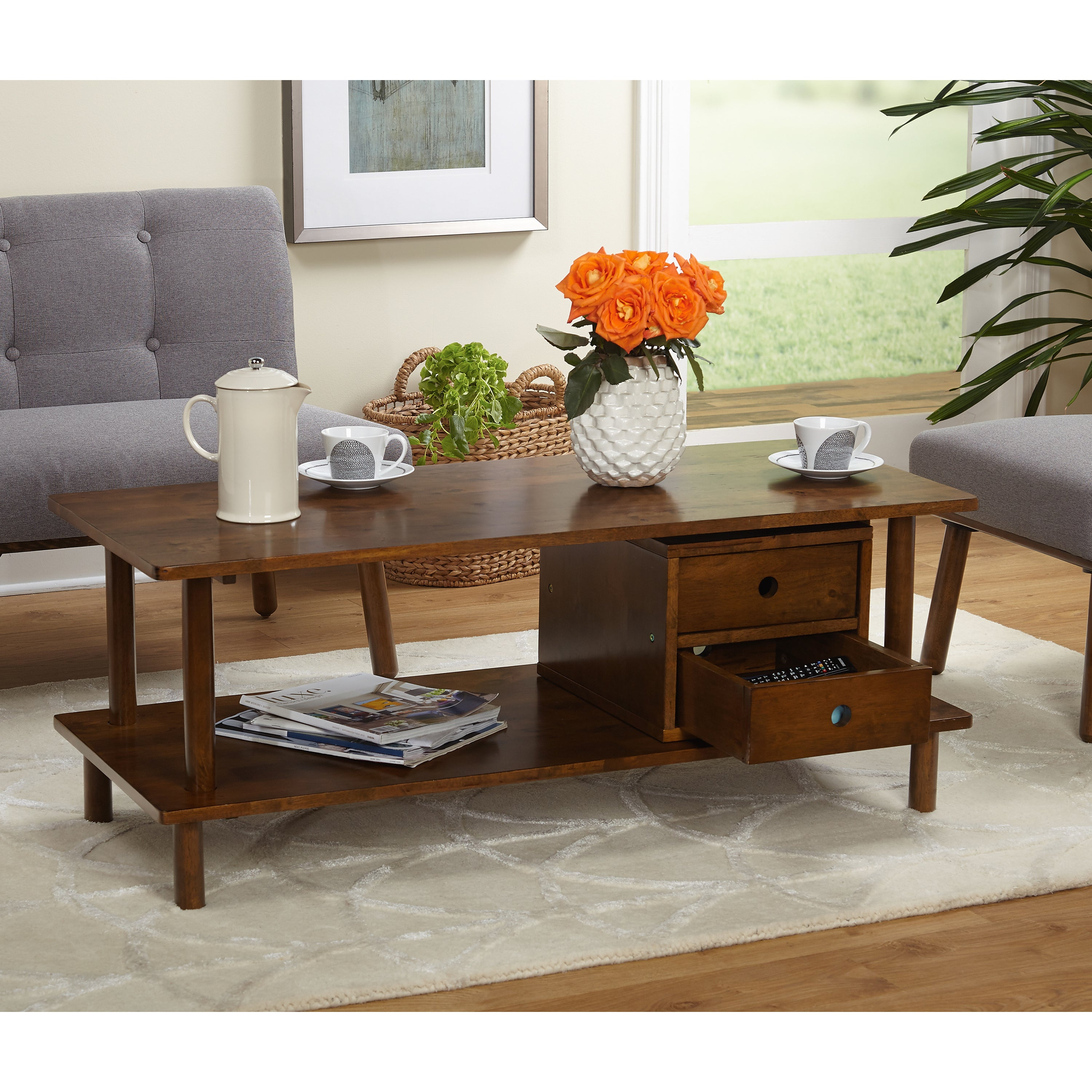 Simple Living Double Decker Storage TV Stand Coffee Table Free